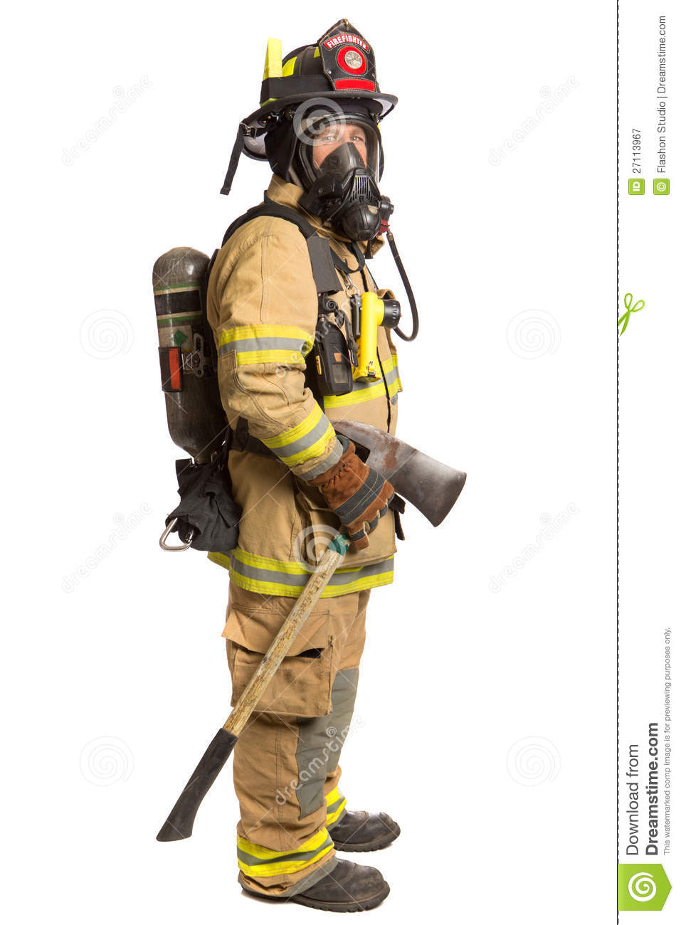 Firefighter With Mask And Fully Protective Suit Stock ...