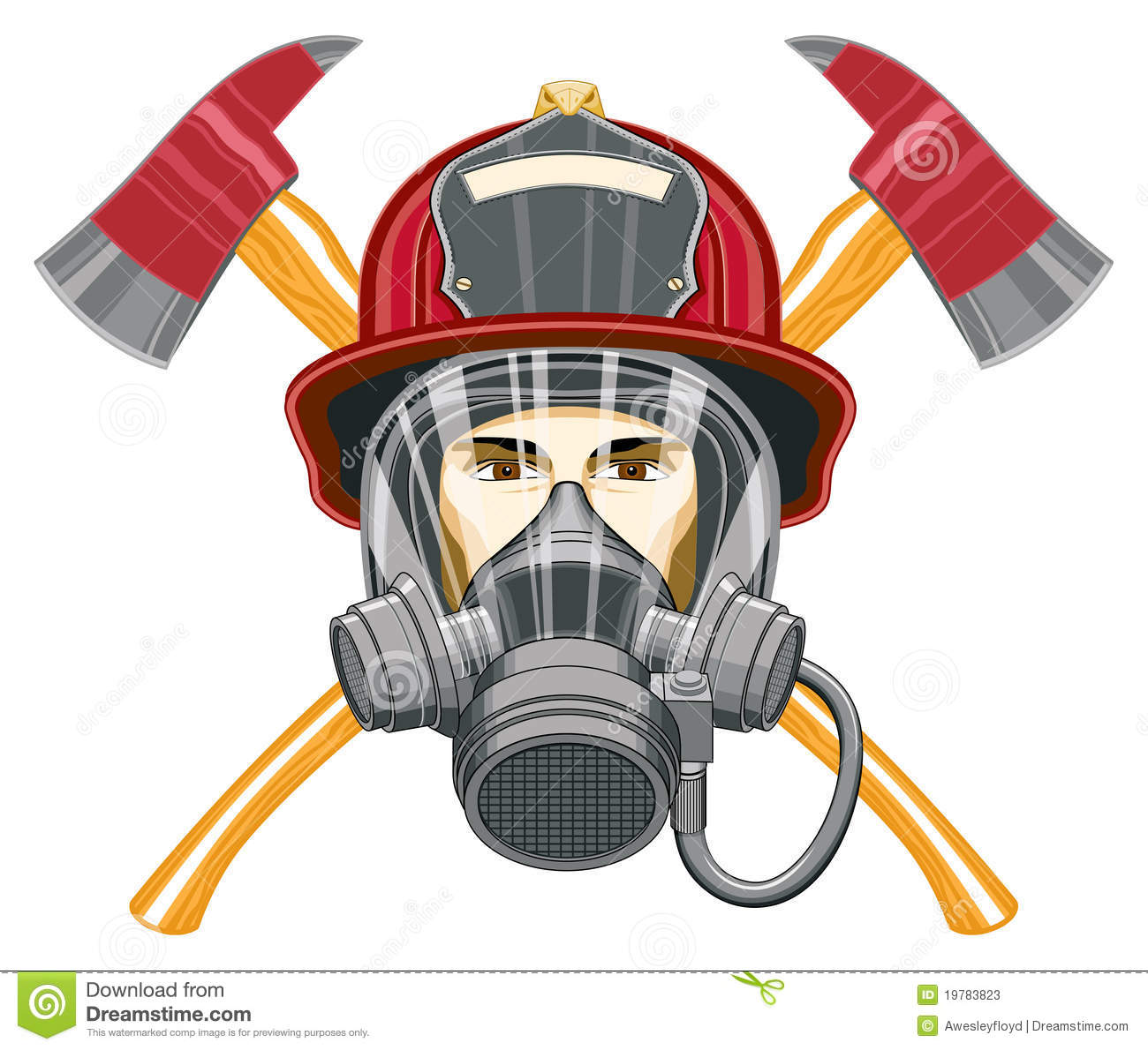 Firefighter With Mask And Axes Stock Photos - Image: 19783823