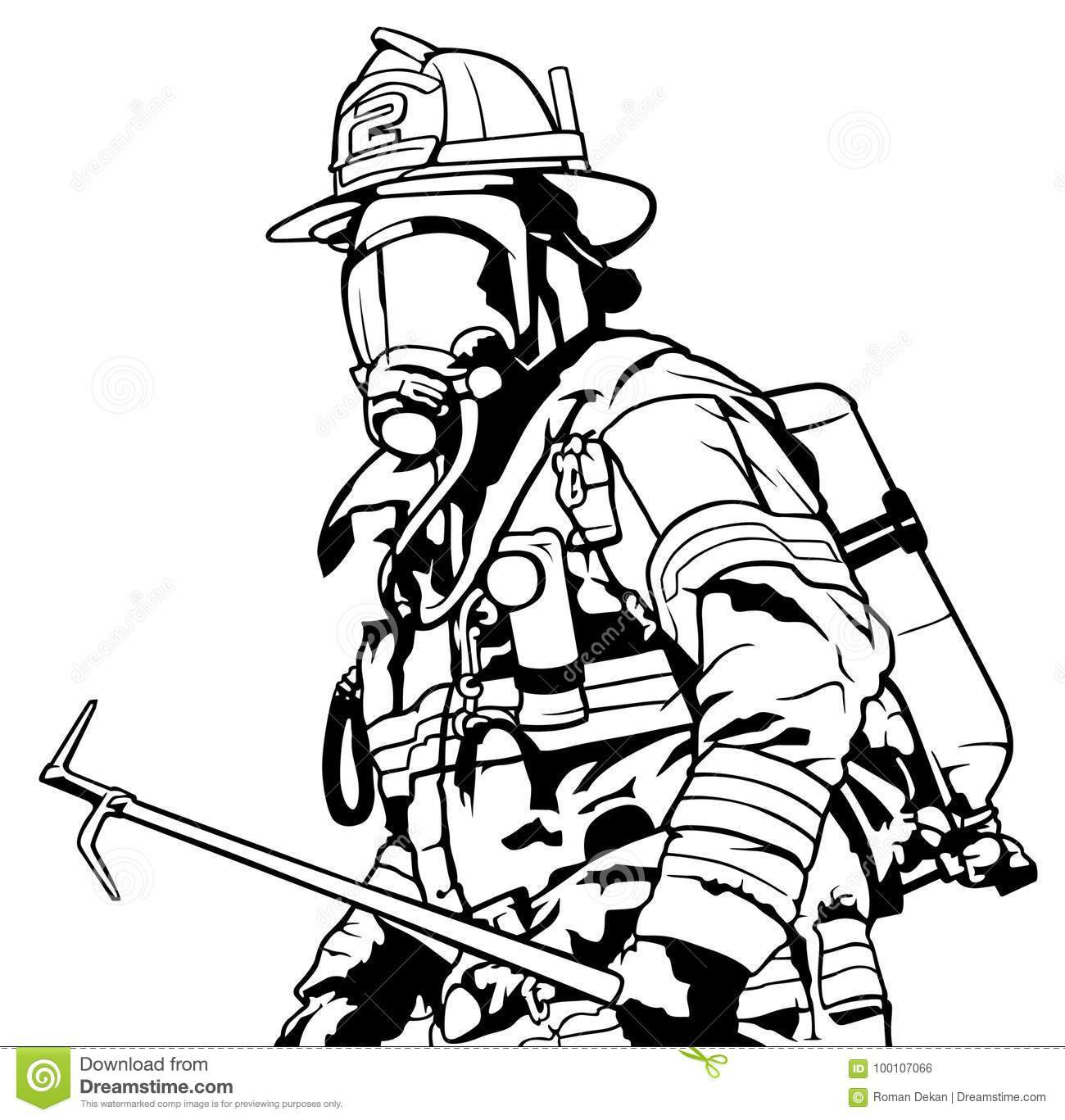 firefighter with mask stock vector. illustration of illustration