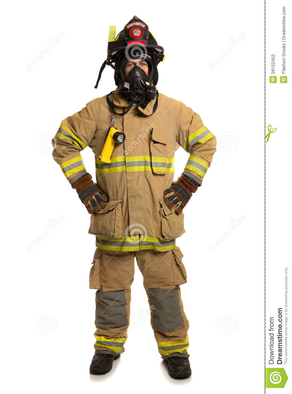 firefighter with mask and fully protective suit stock photography