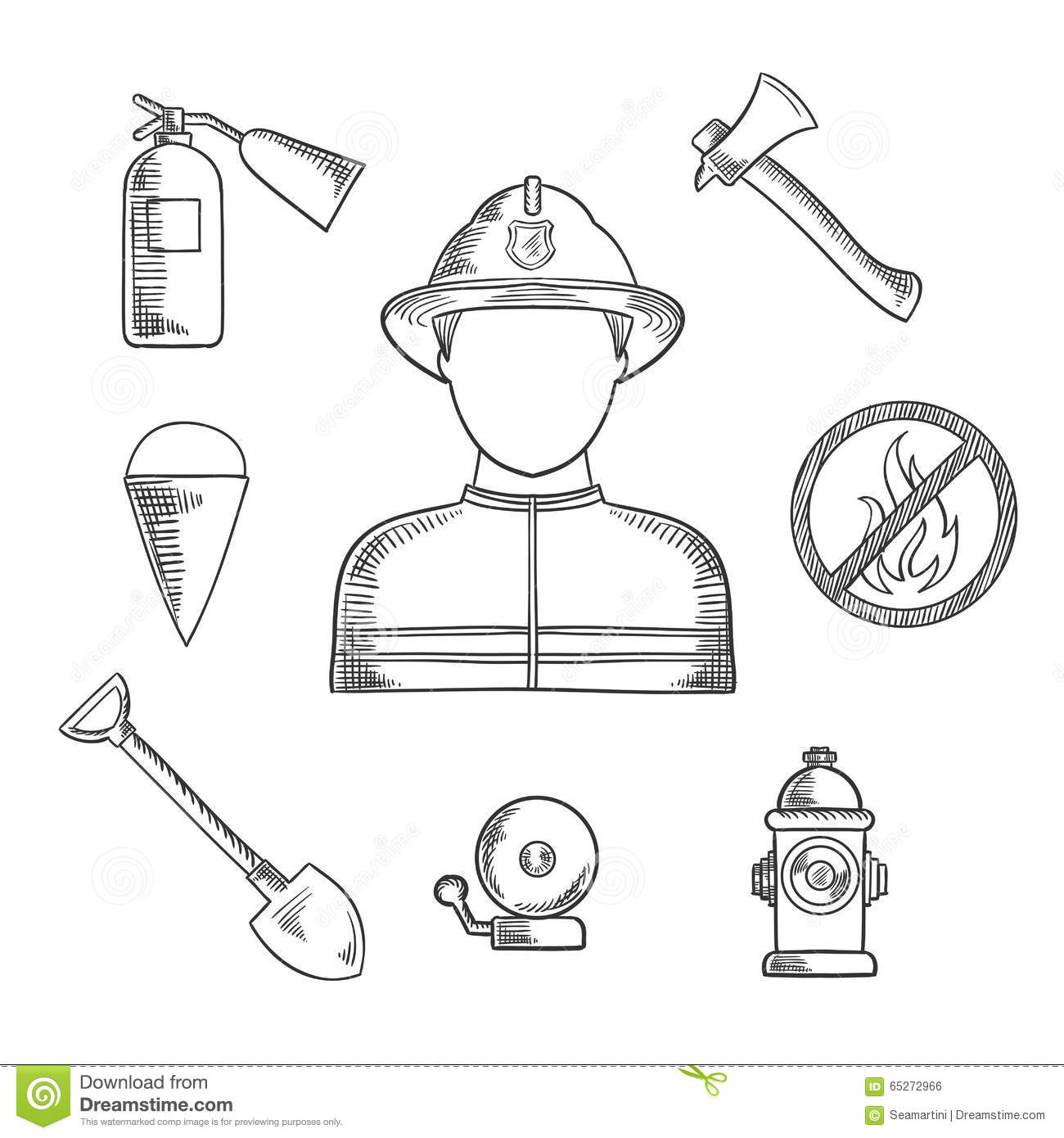 firefighter profession hand drawn sketch icons man protective helmet suit flanked fire axe bucket shovel 65272966