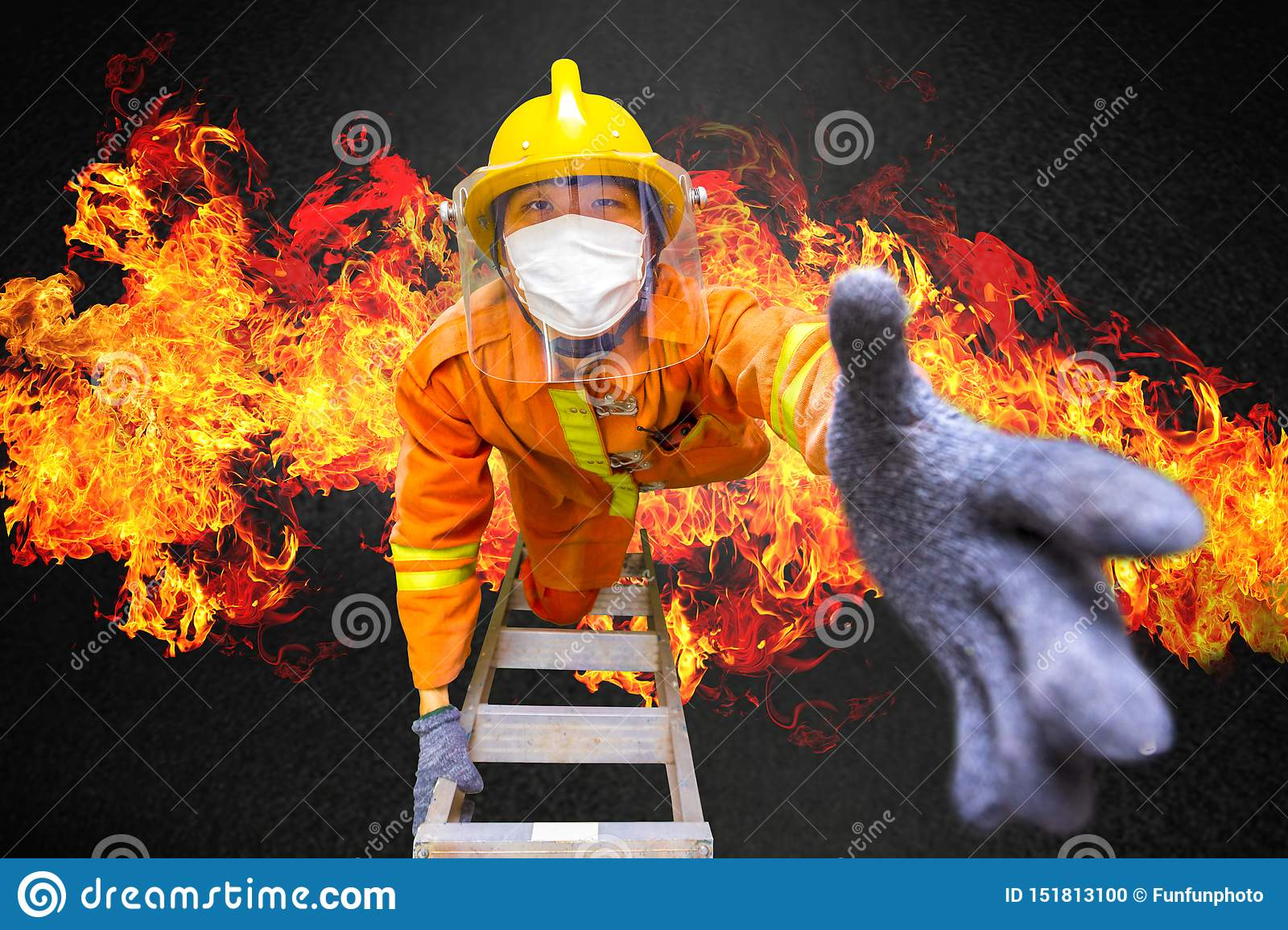 Firefighter rescue, fireman climbing on fire stairs or turntable ladder from burning building to save people in fire and smoke