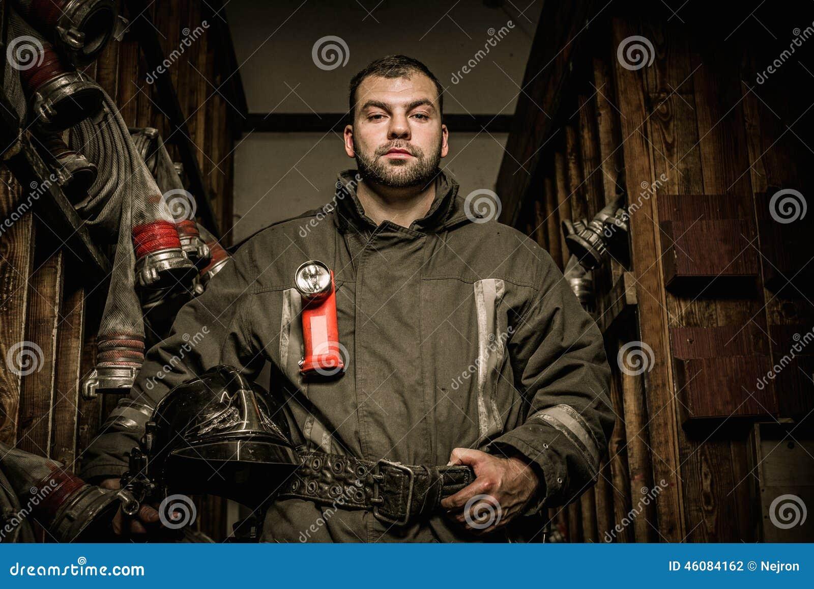 Firefighter in storage room