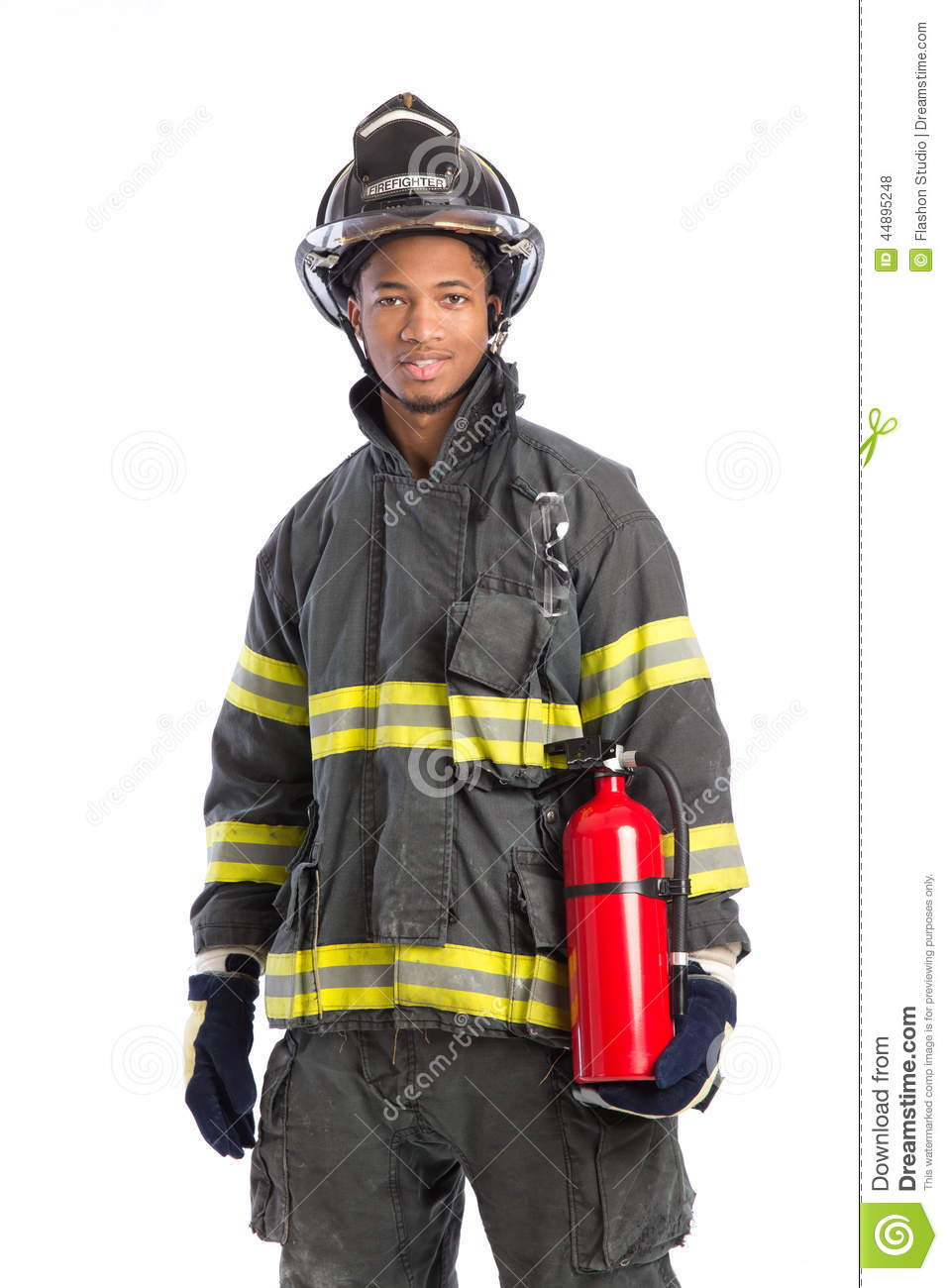 Firefighter In Uniform Holding Fire Extinguisher Stock Photo - Image ...