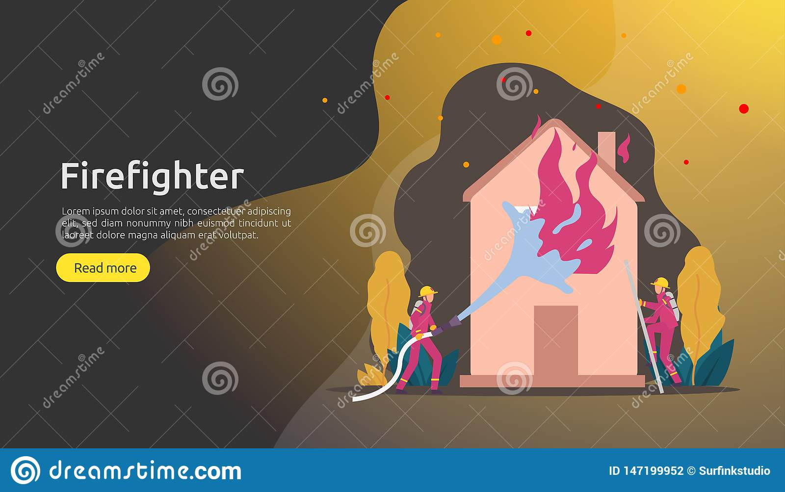 Firefighter using water spray from hose for fire fighting burning house. fireman in uniform, fire department rescuer. illustration