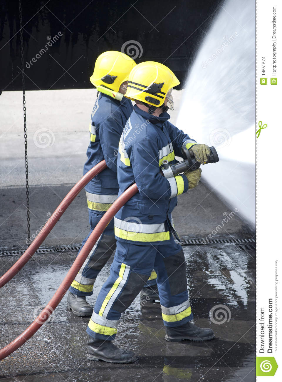 Firefighters In Action Stock Photo. Image Of Safe, Protect