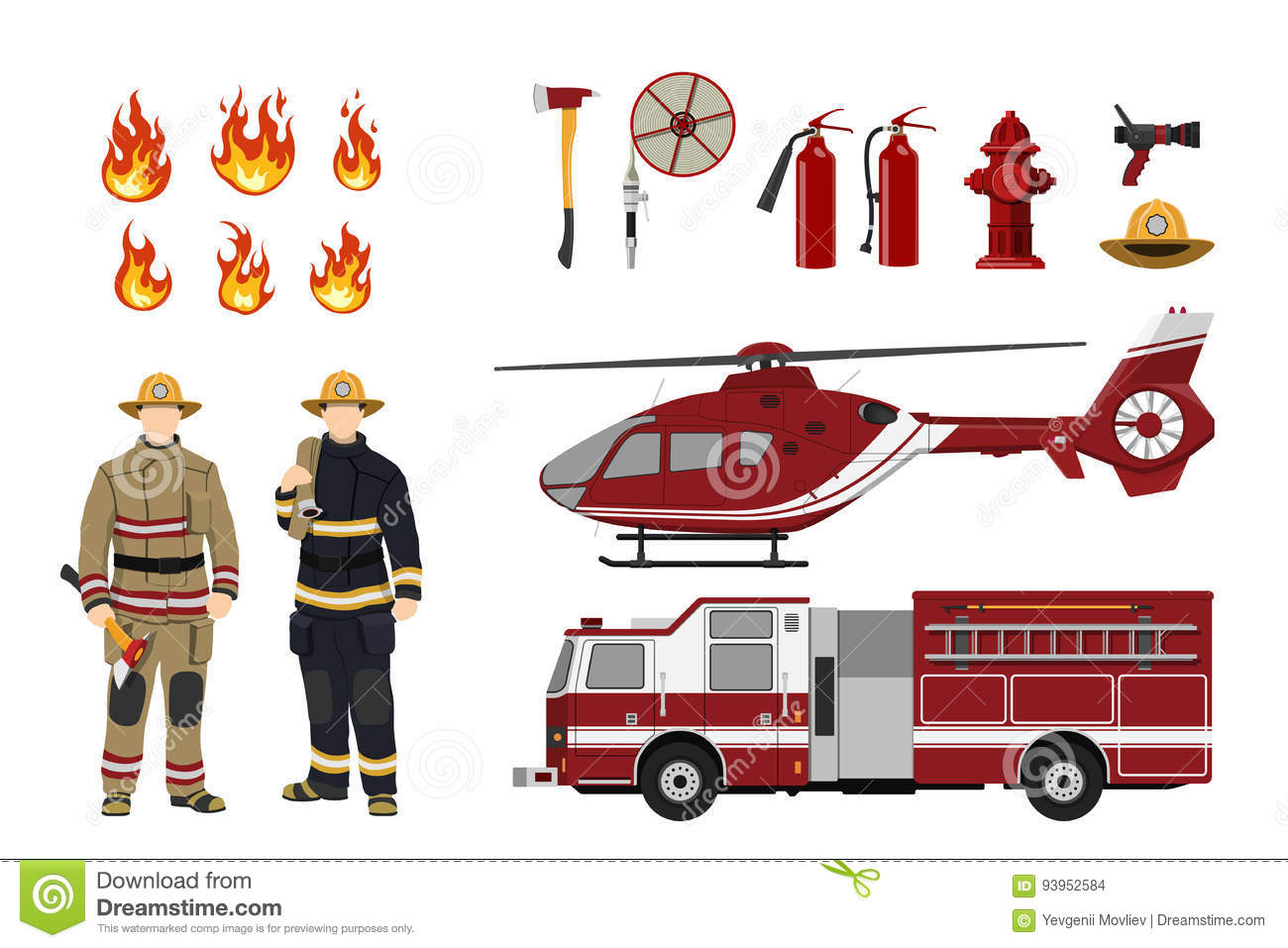 Firefighters and fire fighting equipment on a white background. Helicopter and fireman`s car. Icons of flame and items
