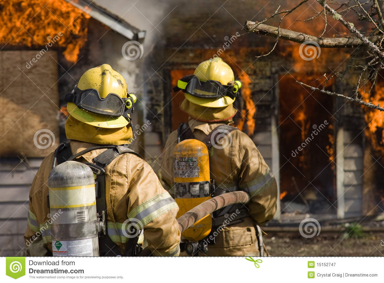 Firefighters standing by