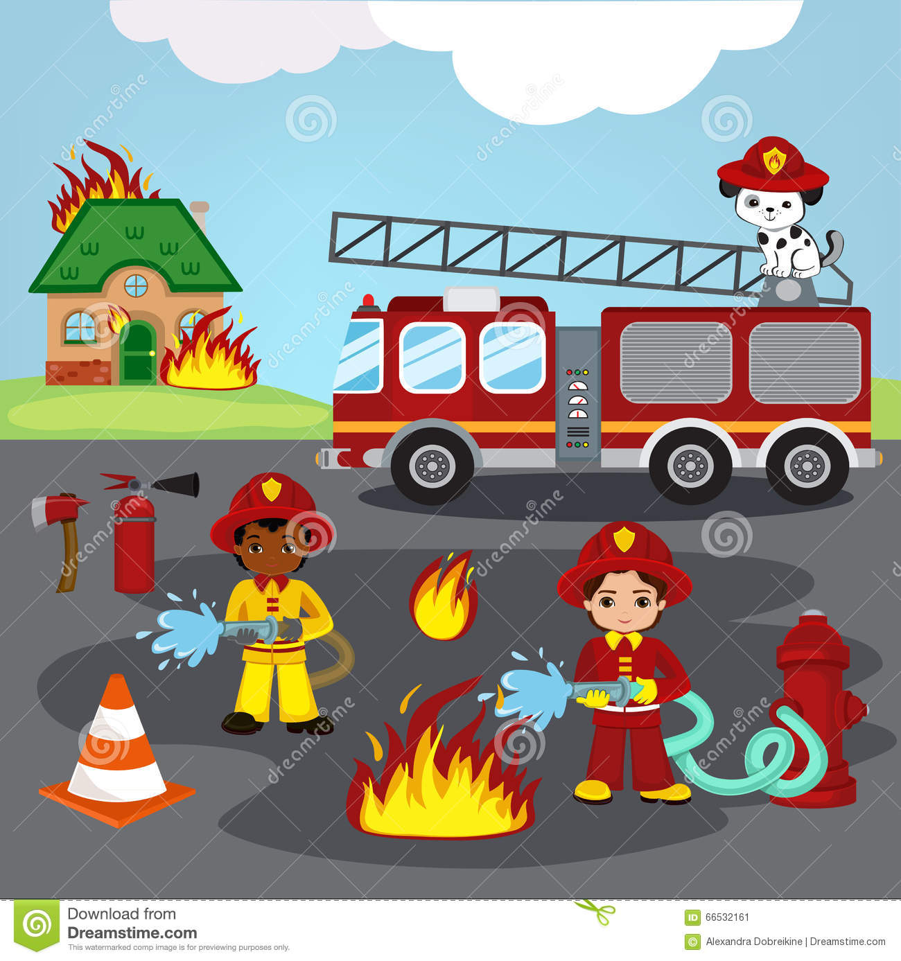 Firefighters Trying To Put Out Burning House. Stock Illustration ...