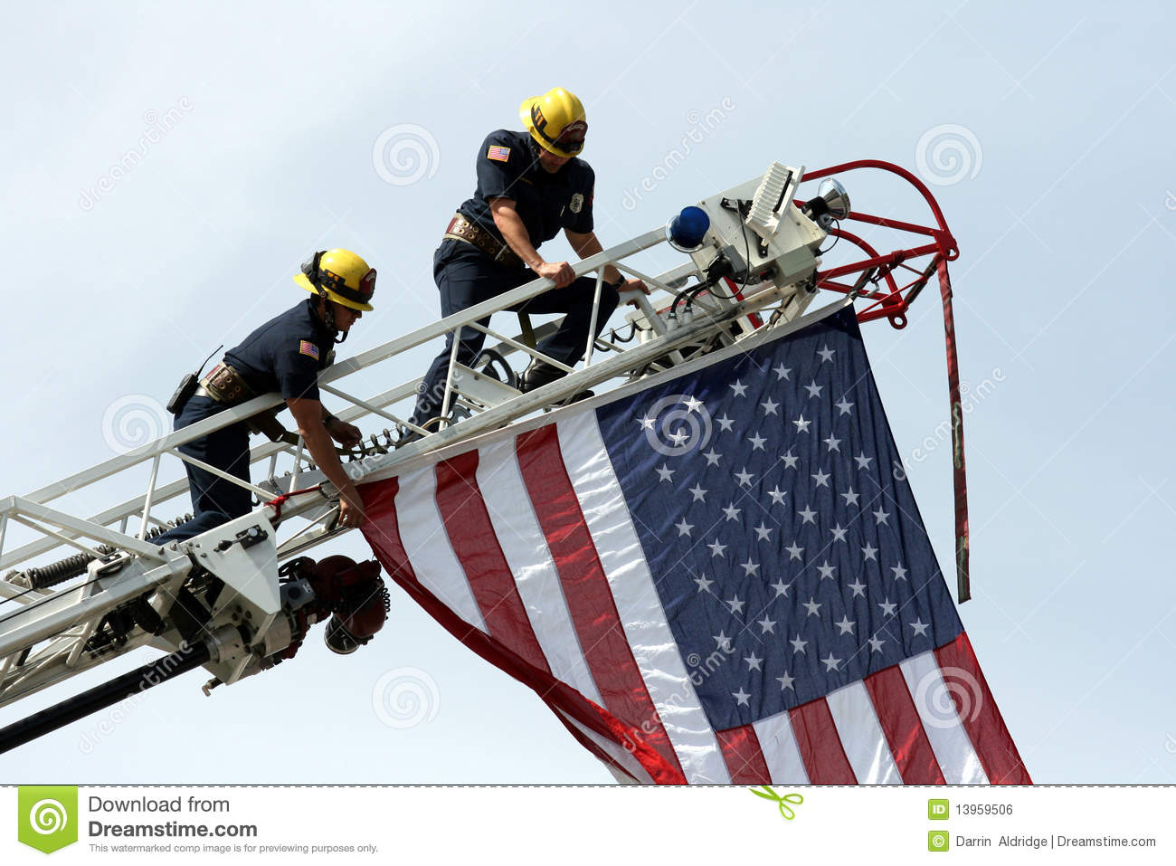 Firefighters with USA flag