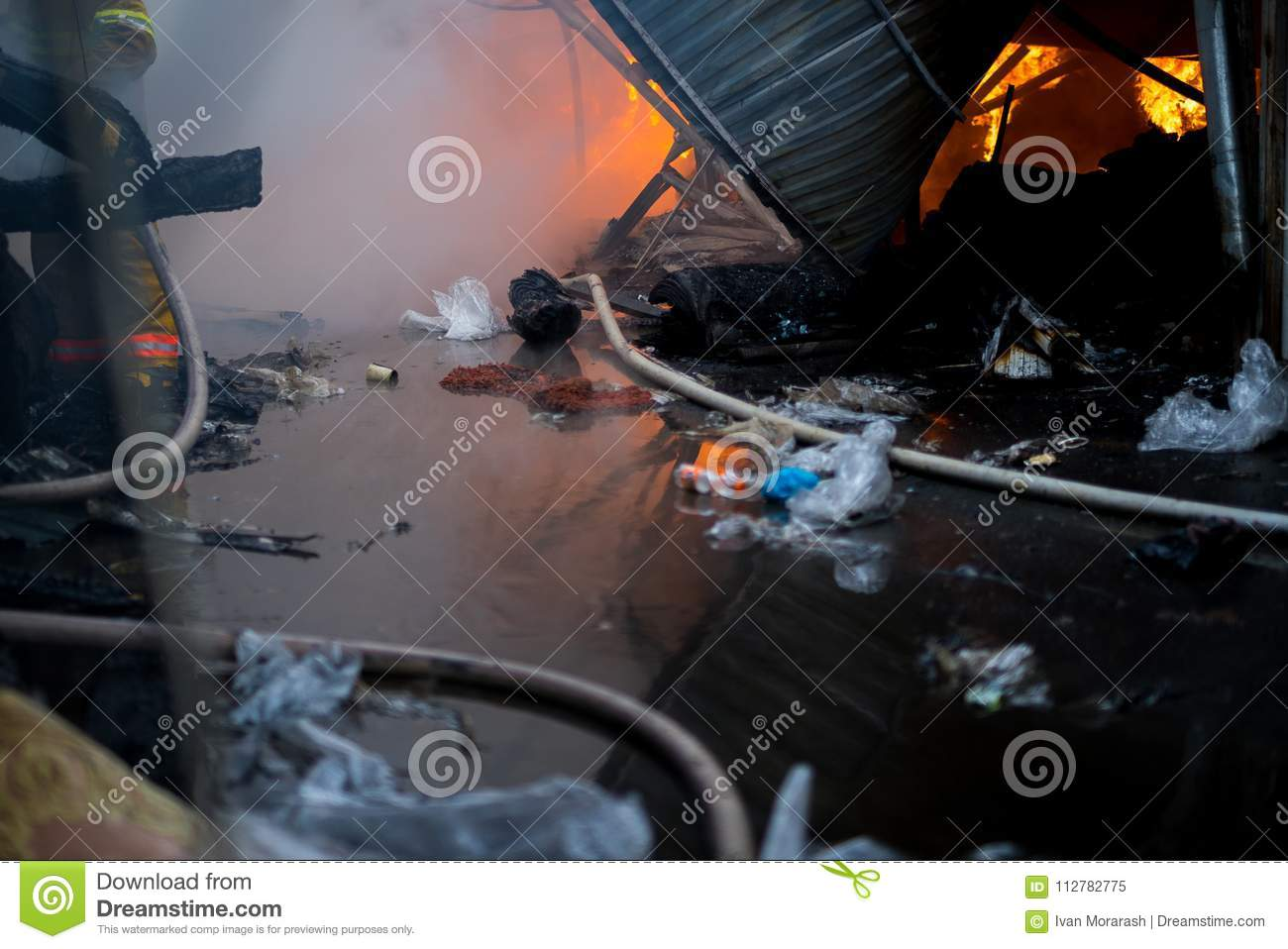 Fire Of Building Local Market Is On Fire Editorial Image Image Of