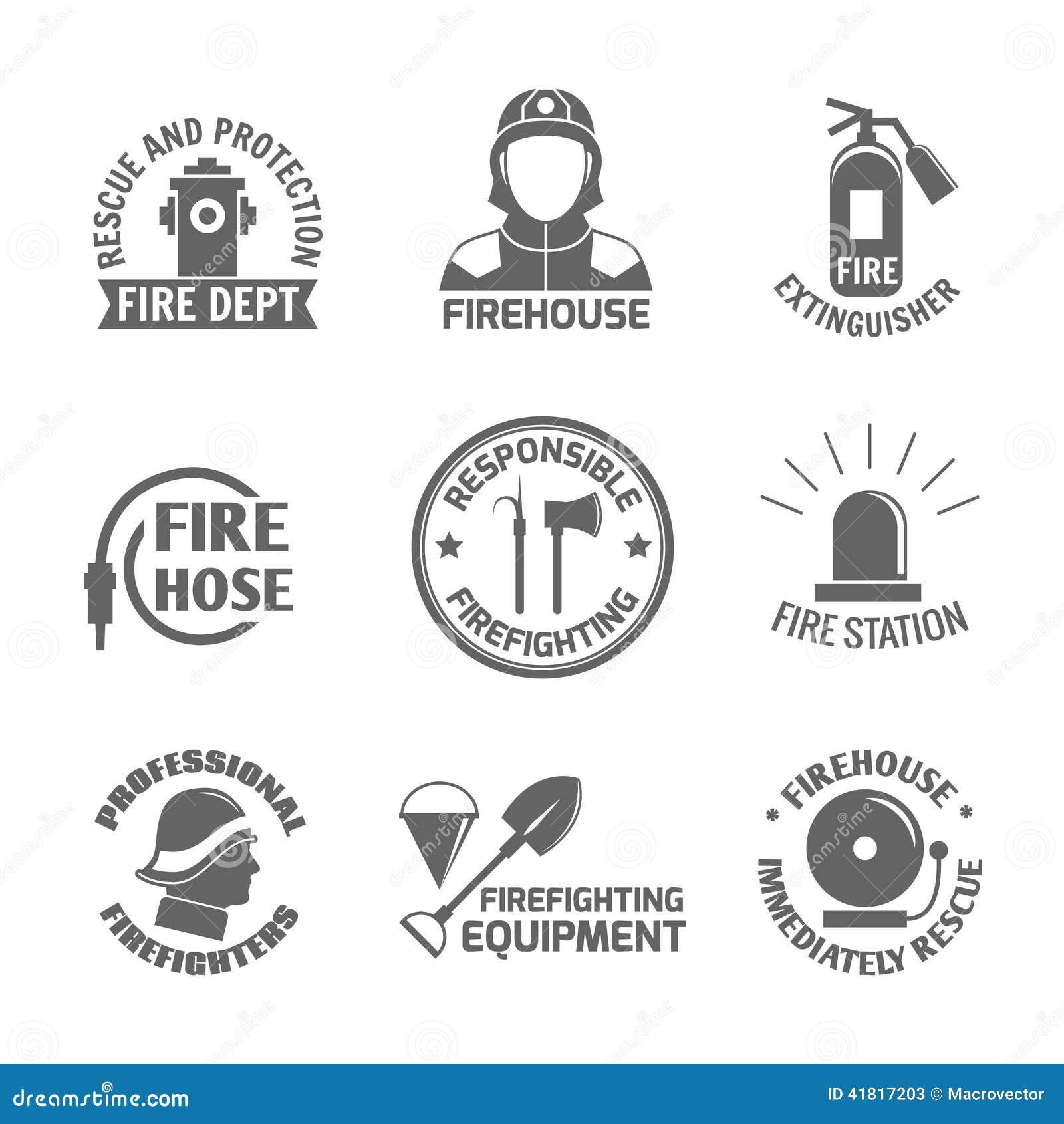 firefighting label set stock vector image 41817203