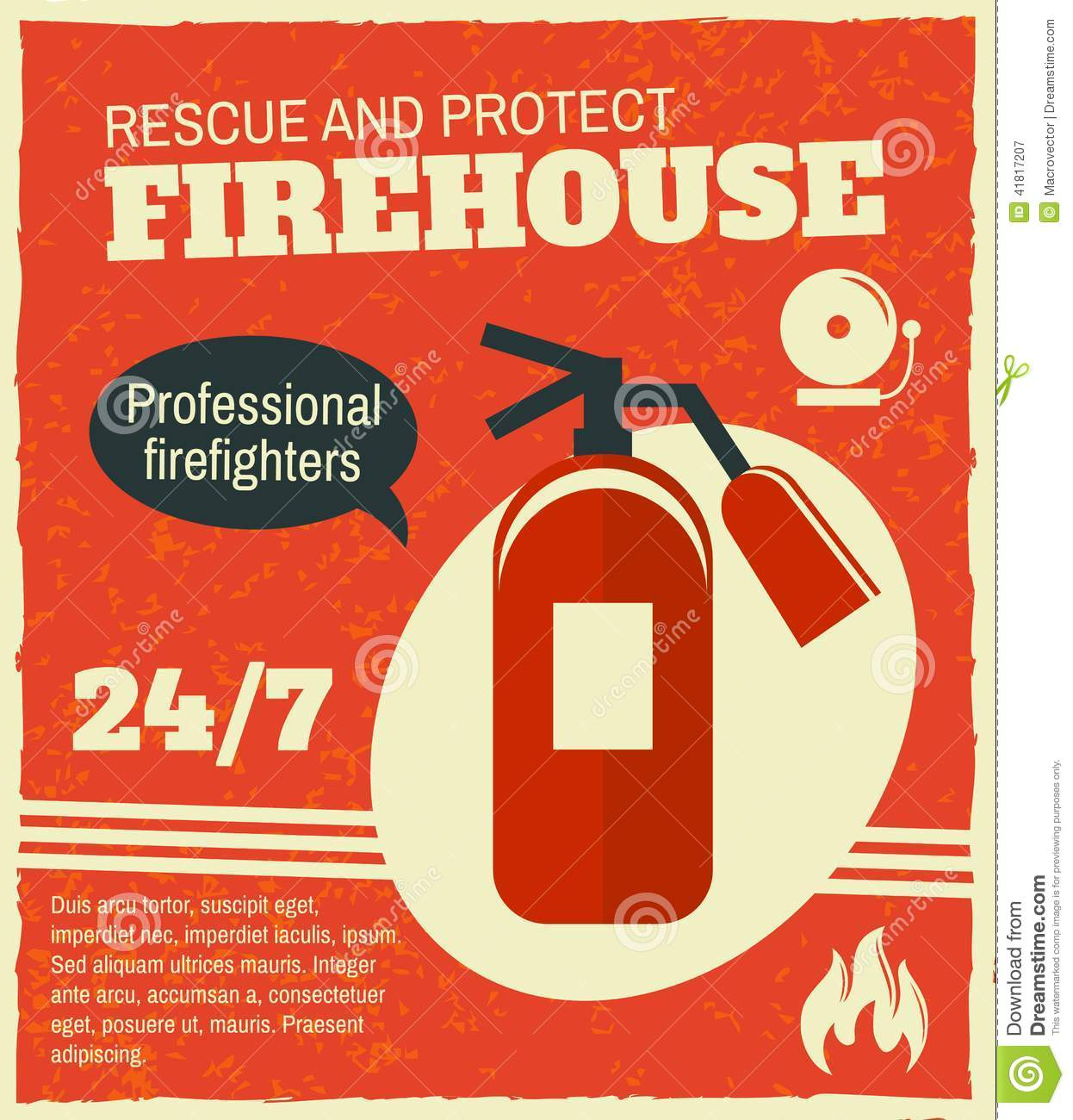 Firefighting rescue and protection professional firefighters poster ...