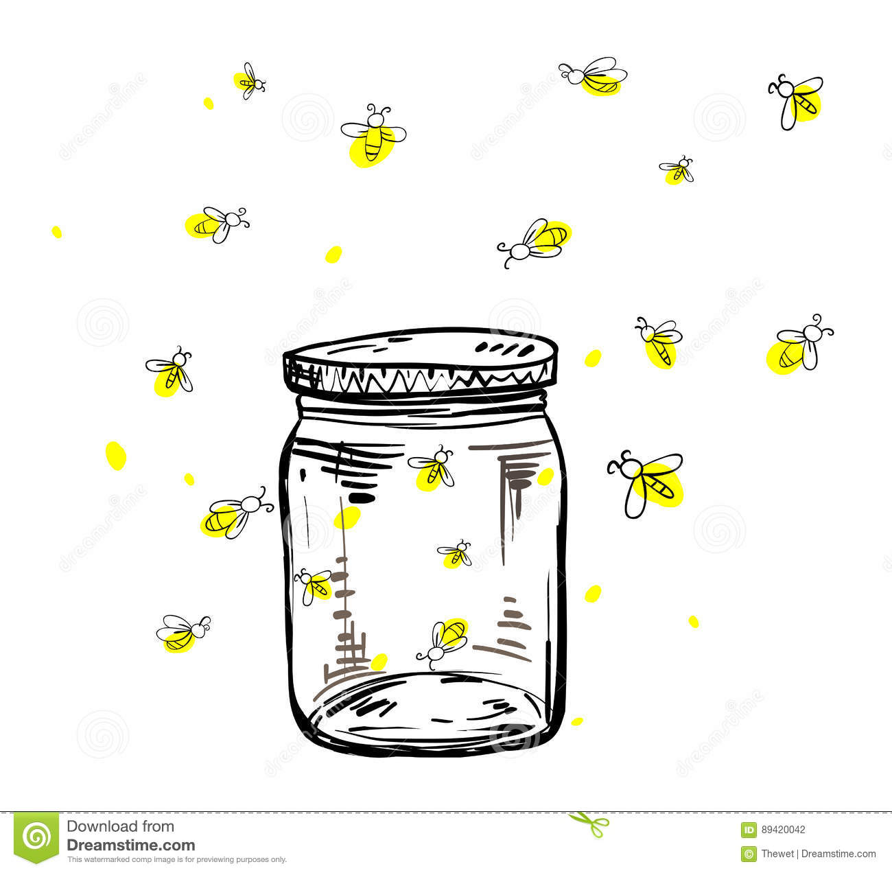 Fireflies Flying Around The Jar Stock Vector ...