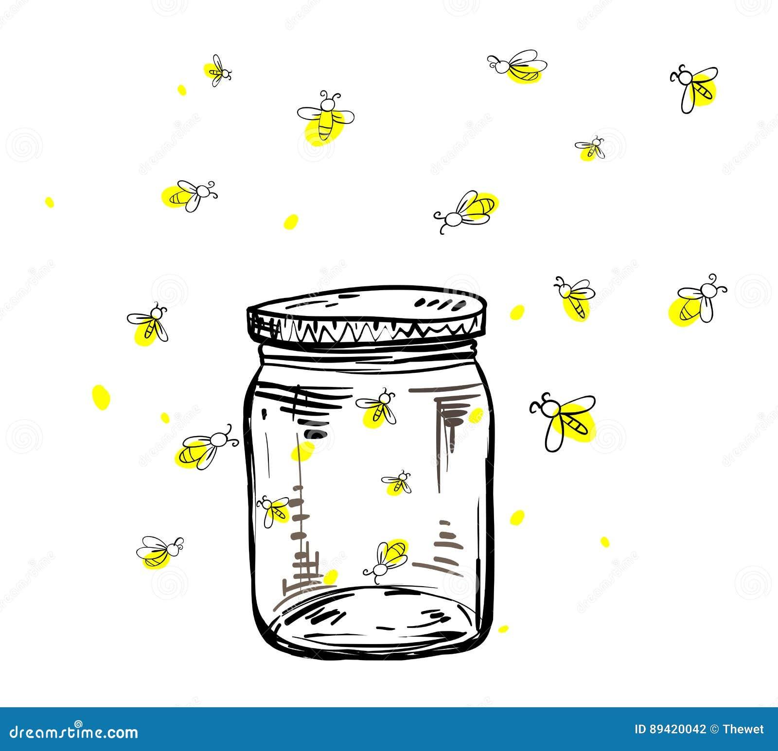 fireflies flying around the jar stock vector