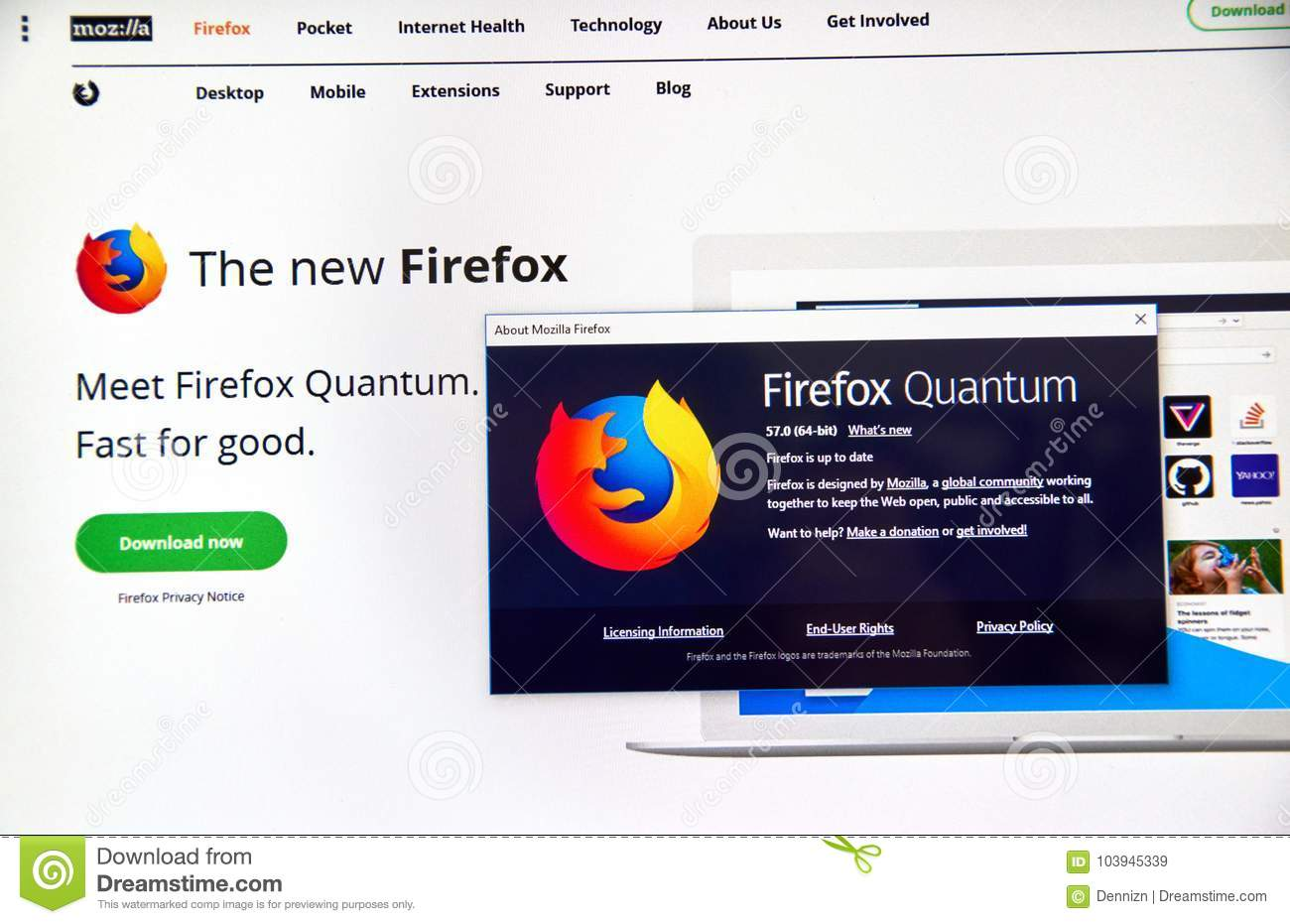 Firefox Quantum web page  editorial stock image  Image of