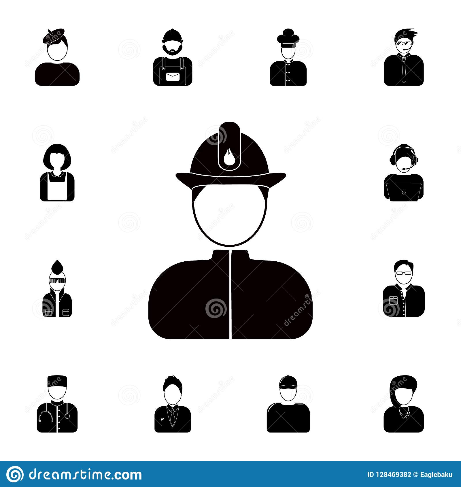 Fireman avatar icon. Detailed set of avatars of profession icons. Premium quality graphic design icon. One of the collection icons