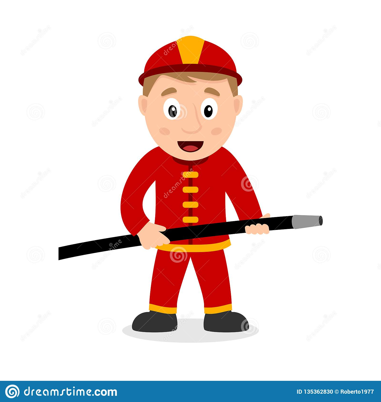 Fireman Cartoon Character With Hose Stock Vector Illustration Of Drawing Cute 135362830