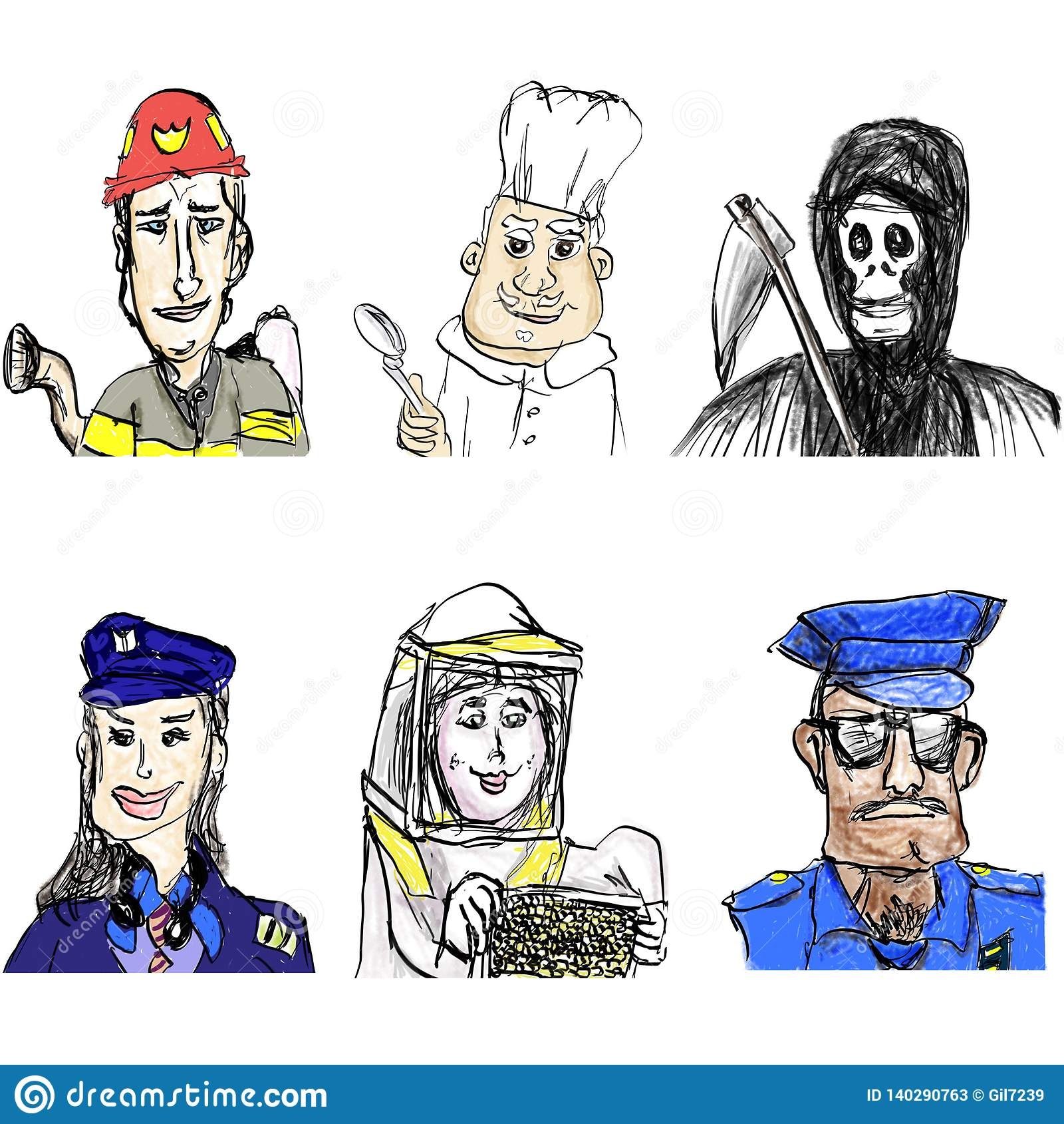 Fireman, Chef, Pilot Woman, Beekeeper, Policeman, Angel of Death