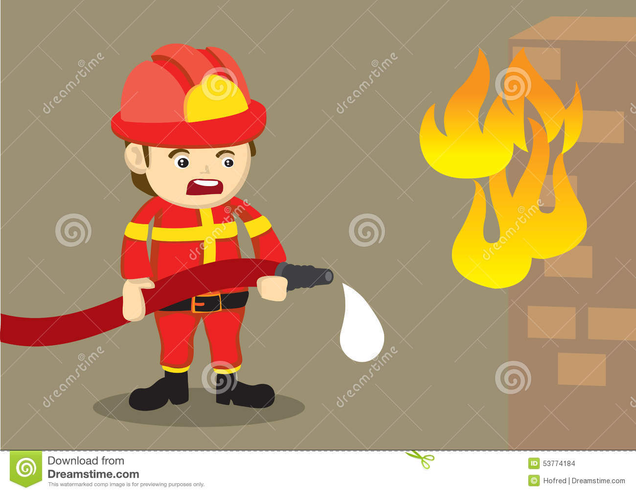 fireman fighting fire with dripping hose stock vector illustration