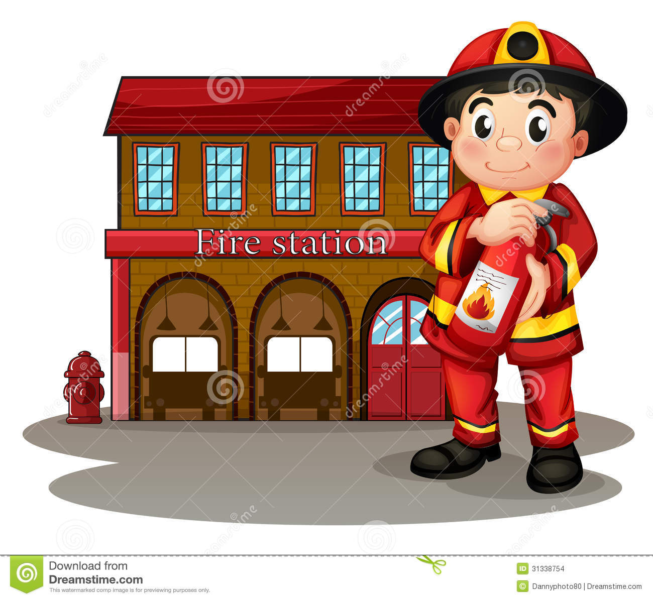 a fireman in front of a fire station holding a fire fire truck images clip art free Fire Truck Coloring Pages