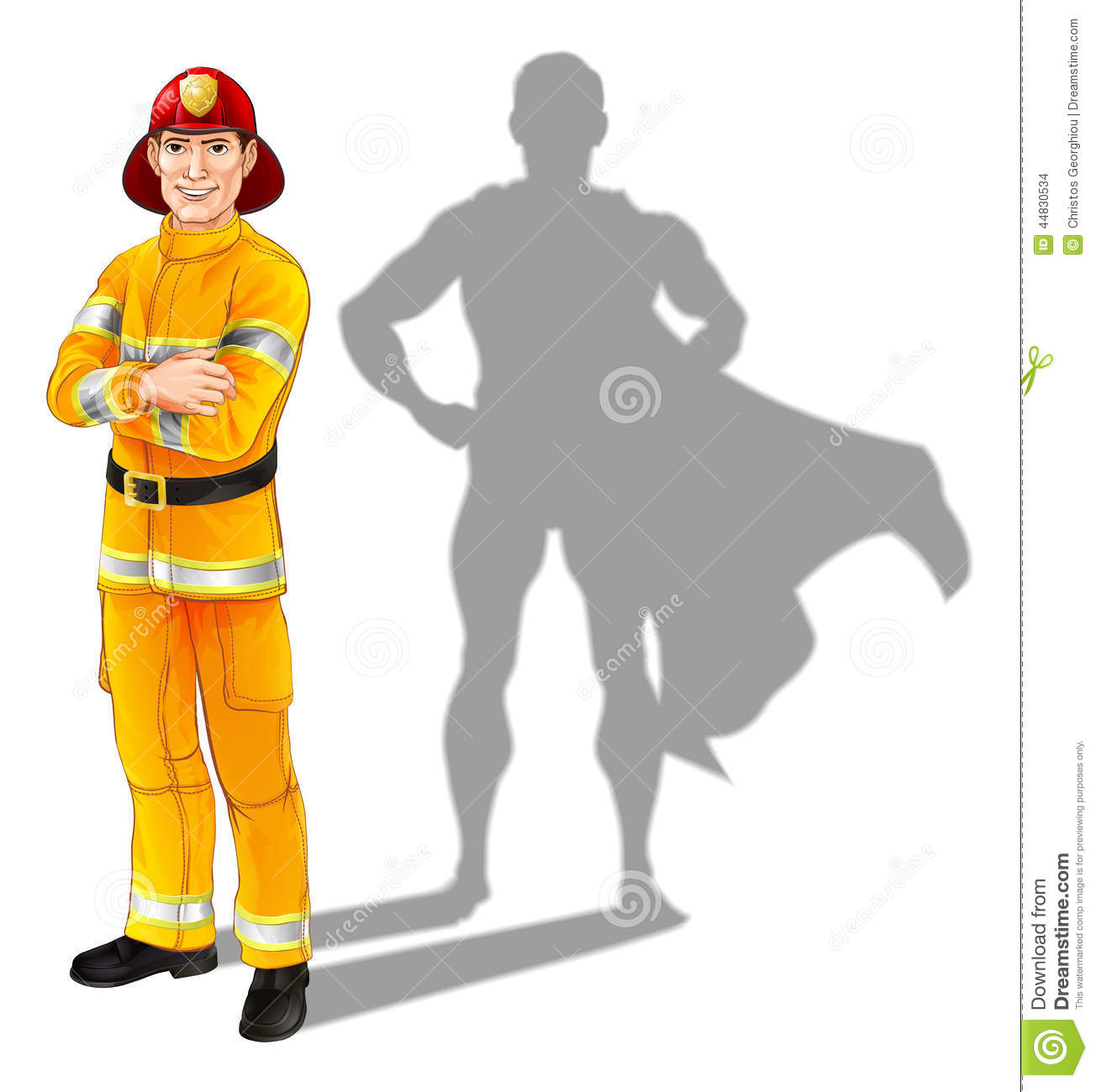 ... or fire officer standing with his arms folded with superhero shadow Superhero Flying Vector