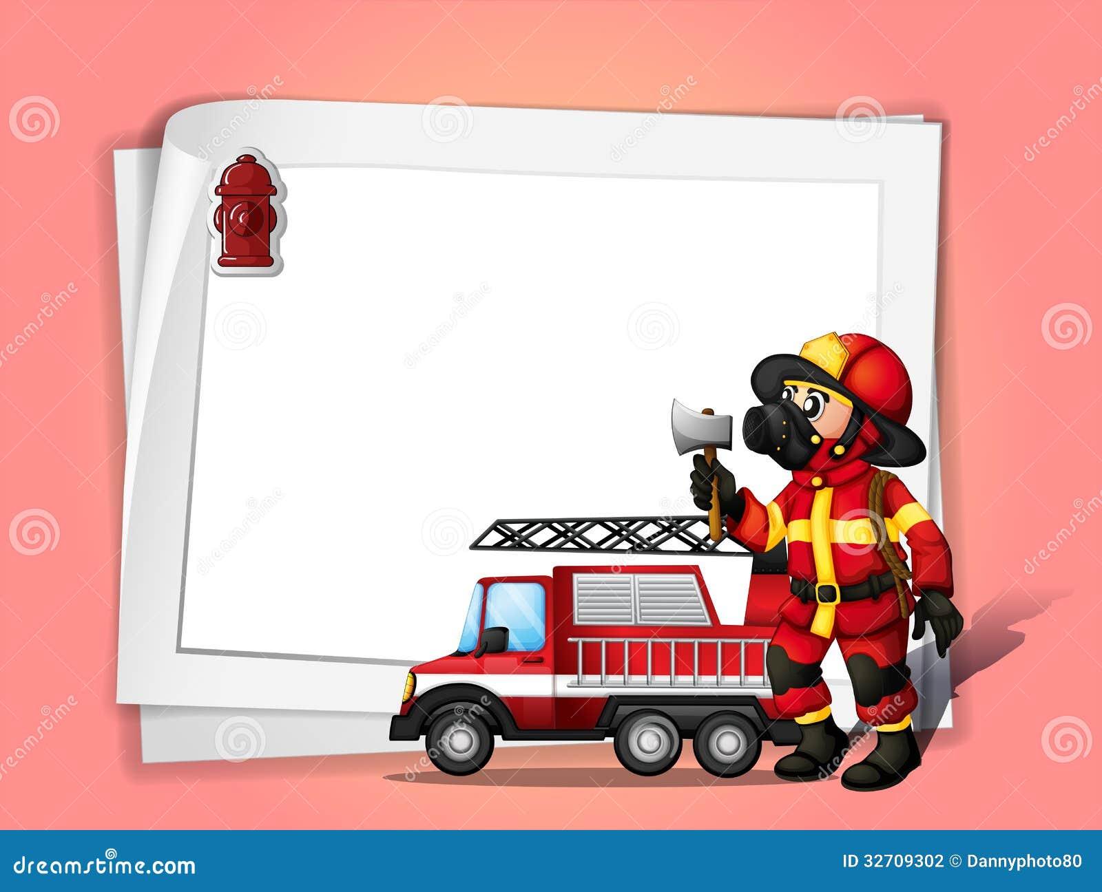 a fireman holding an ax beside his fire truck with a white Firefighters Fireman Clip Art fireman clipart pictures