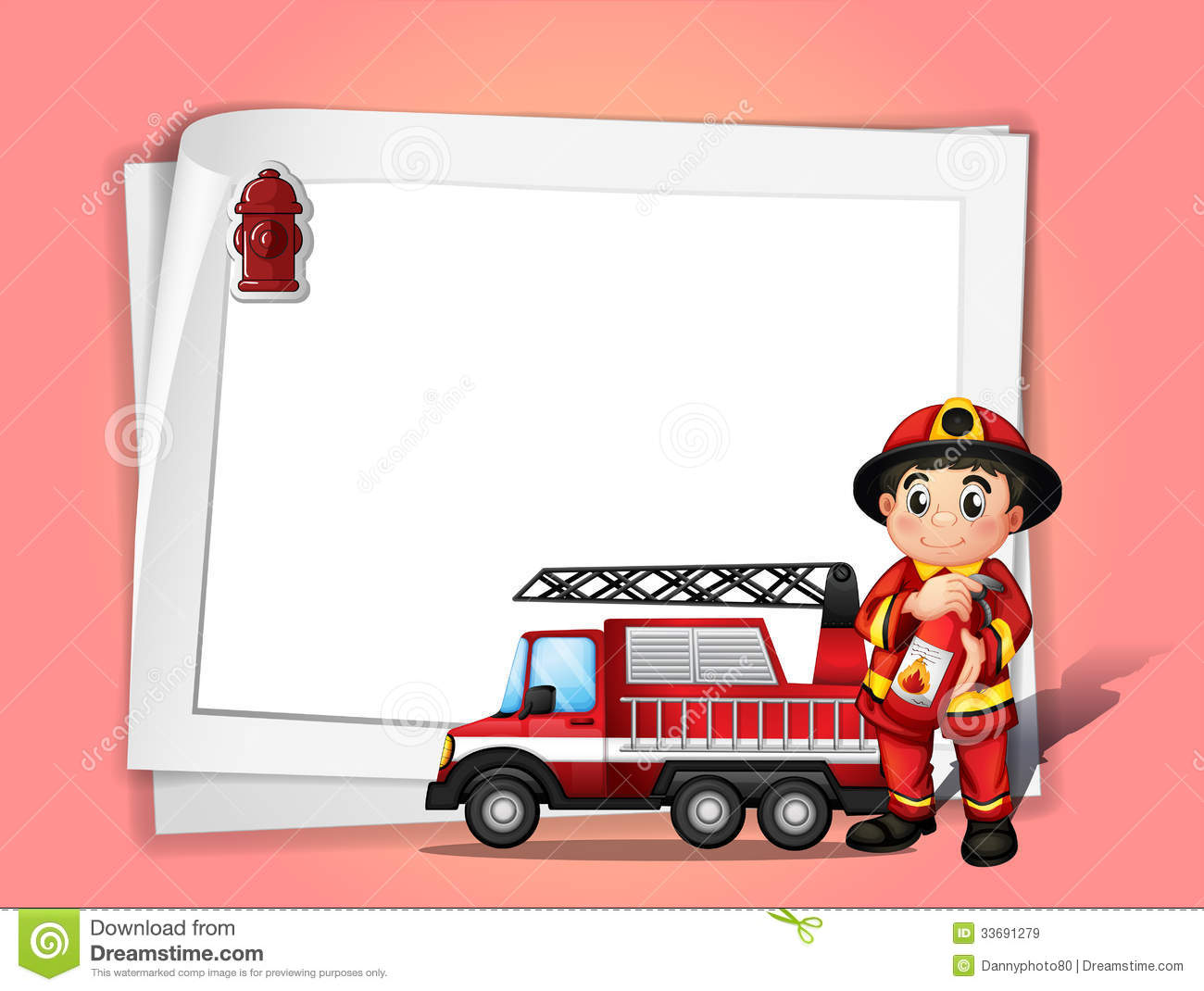 ... extinguisher beside his fire truck in front of a white blank paper