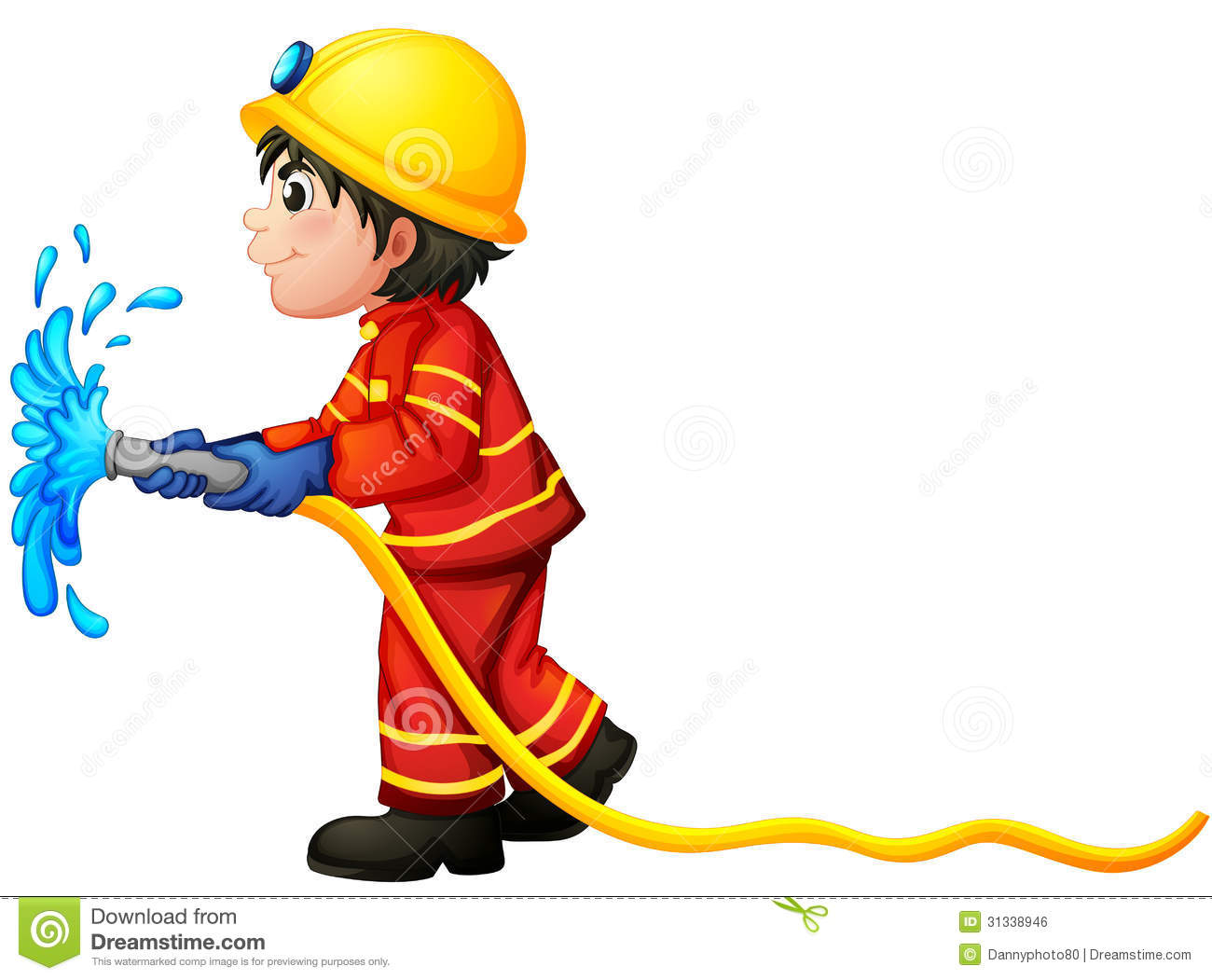 Illustration of a fireman holding a water hose on a white background.
