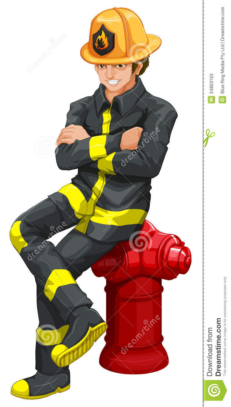 Illustration of a fireman on a white background.