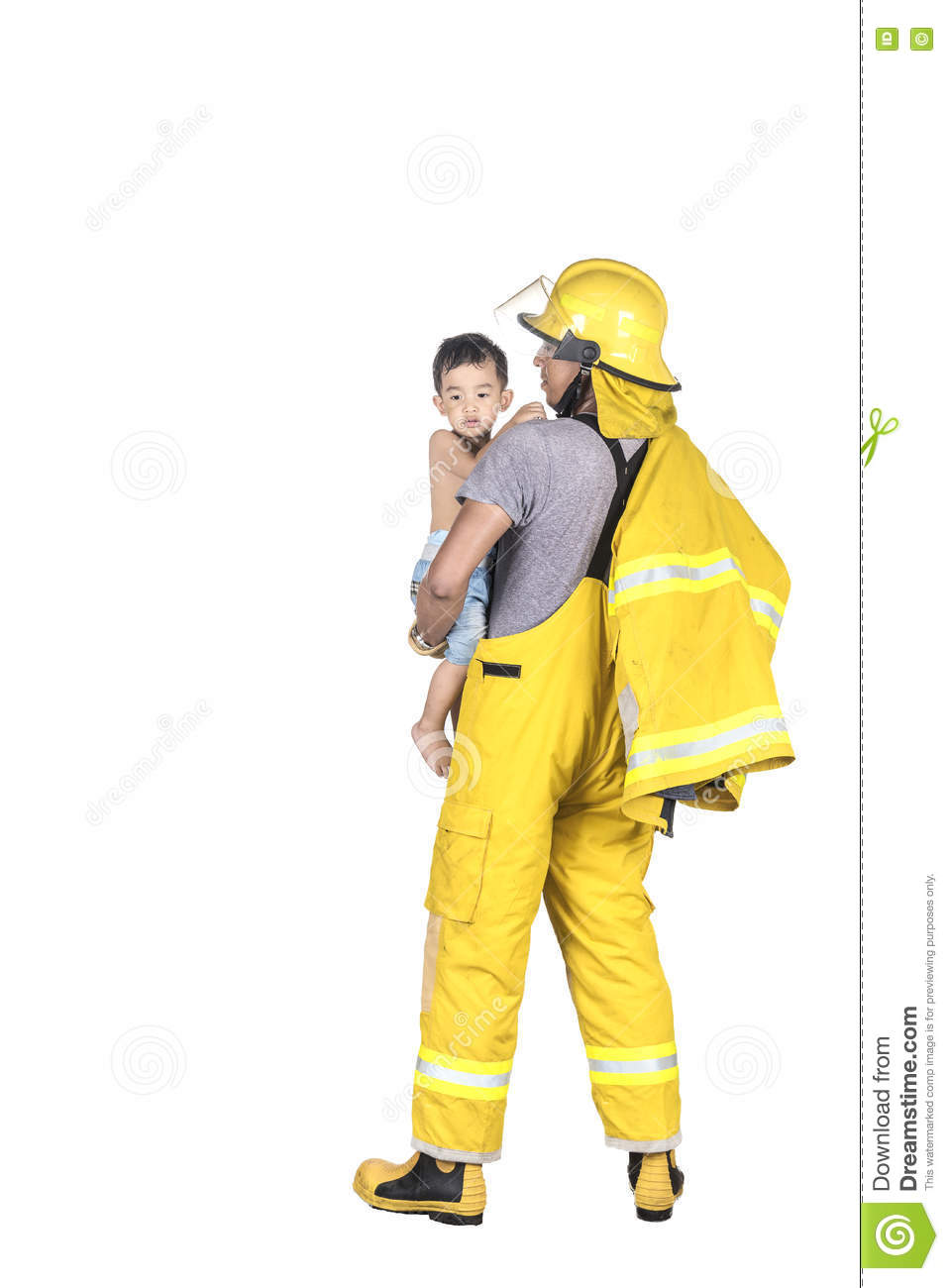 Fireman rescued child from the fire.