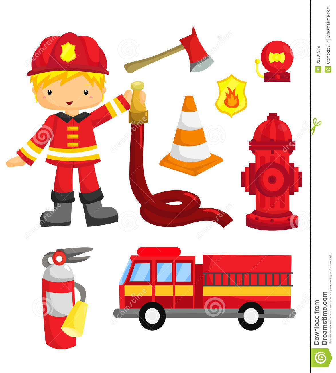 Fireman Vector Set Royalty Free Stock Images - Image: 32831319