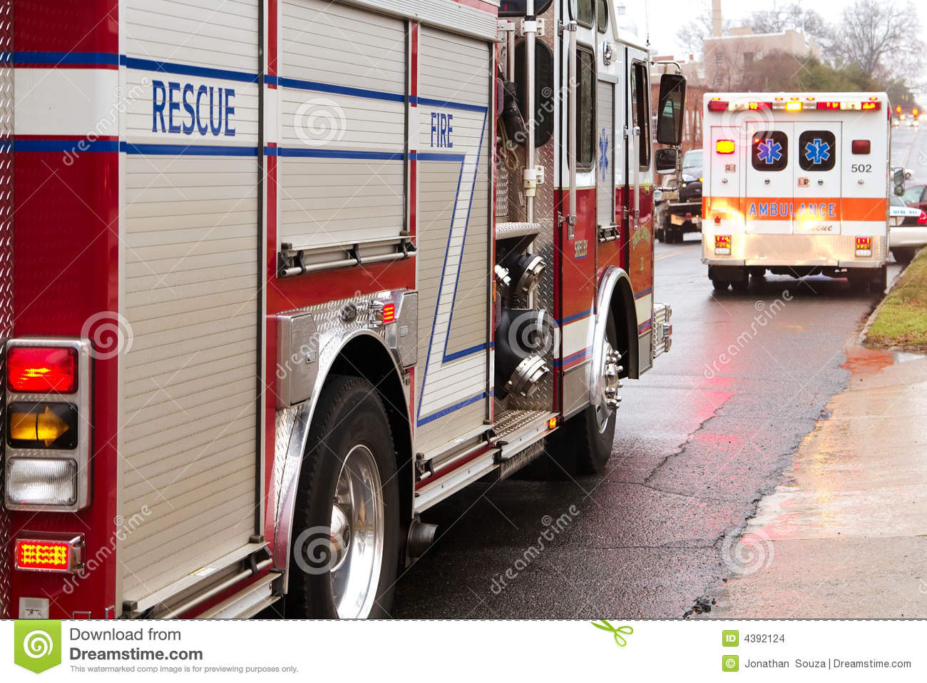 Firemen on their way to the scene