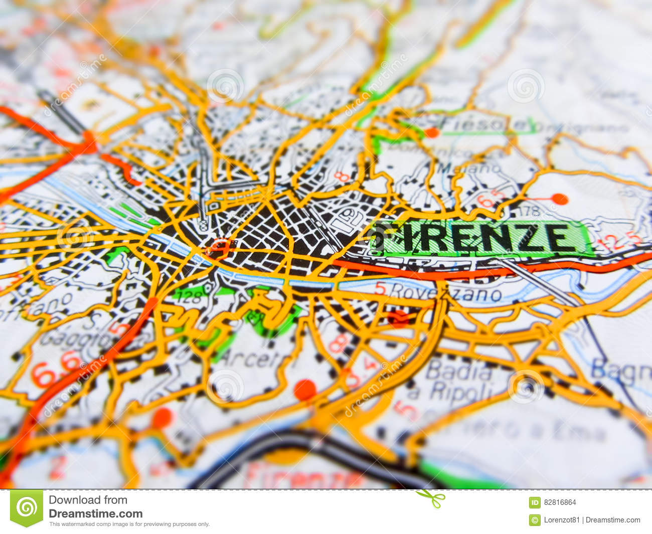 Firenze City Over A Road Map Italy Stock Photo Image Of Firenze