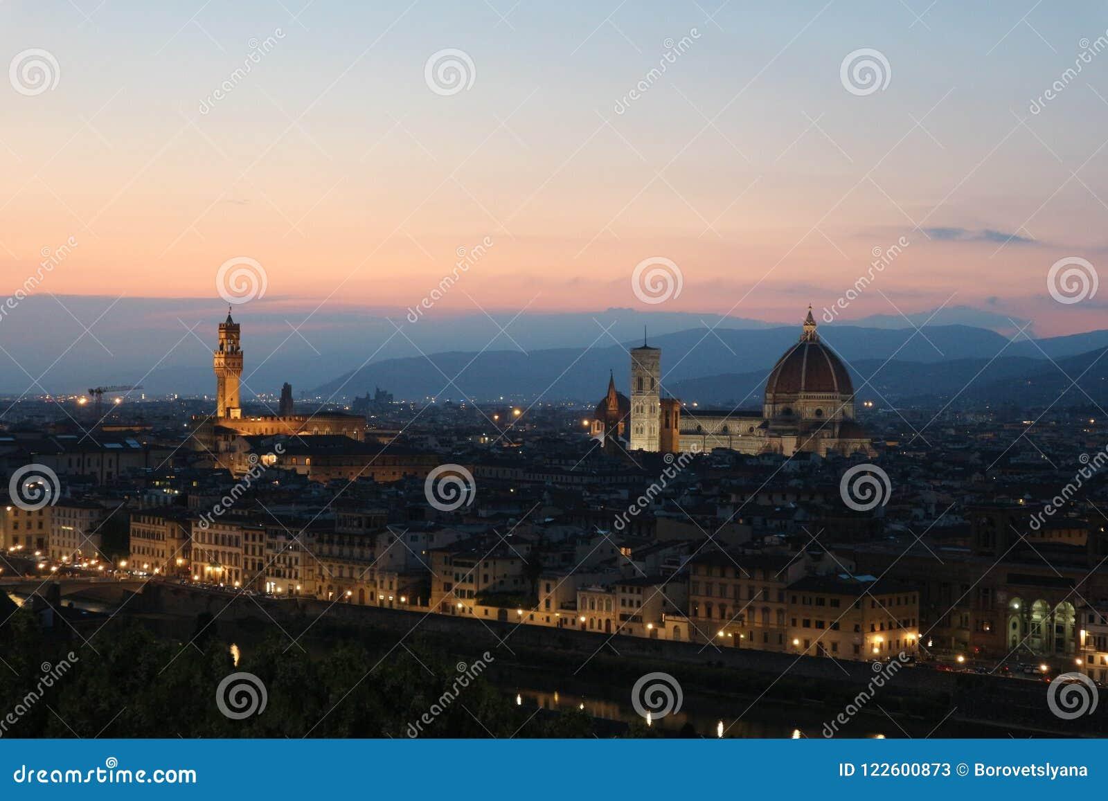 firenze florence for Ð traveler the best night landscape stock