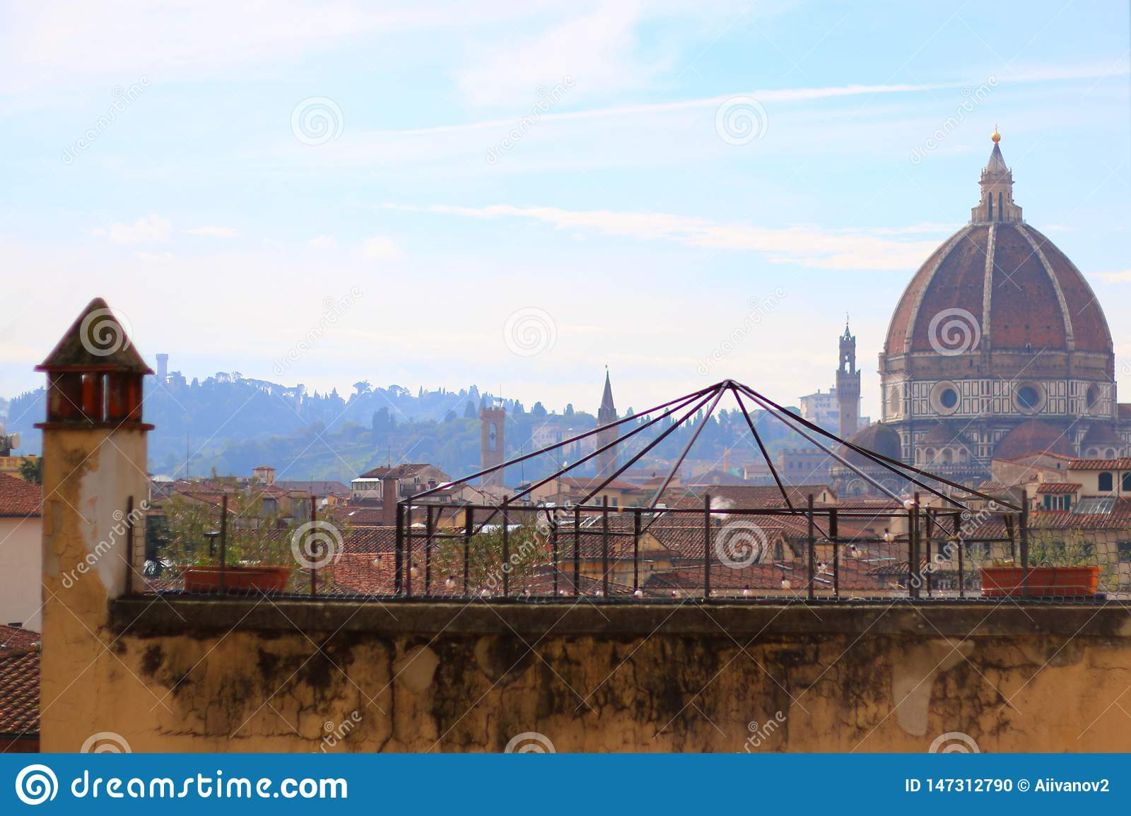 View over the roofs to the dome of Santa Maria del Fiore