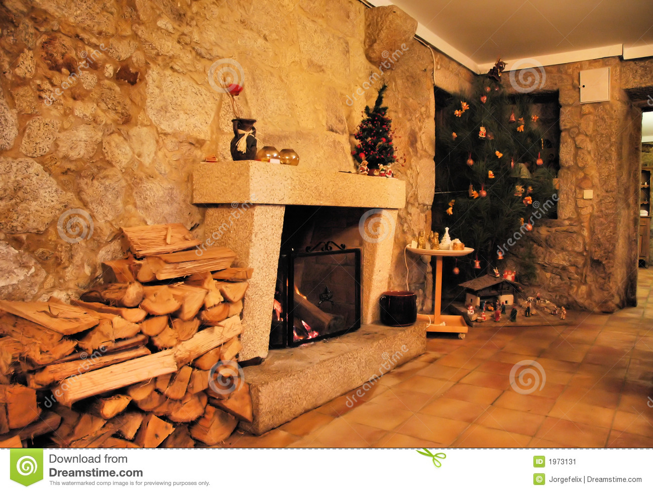 Big Stone Fireplace Stock Photos Image 36630853
