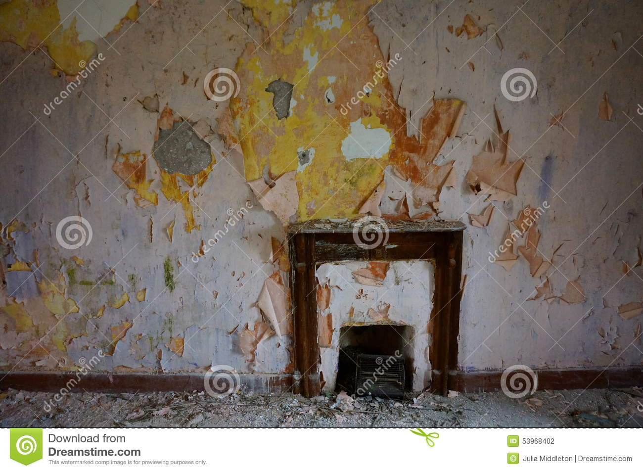 Fireplace In Abandoned Old House Stock Photo Image 53968402
