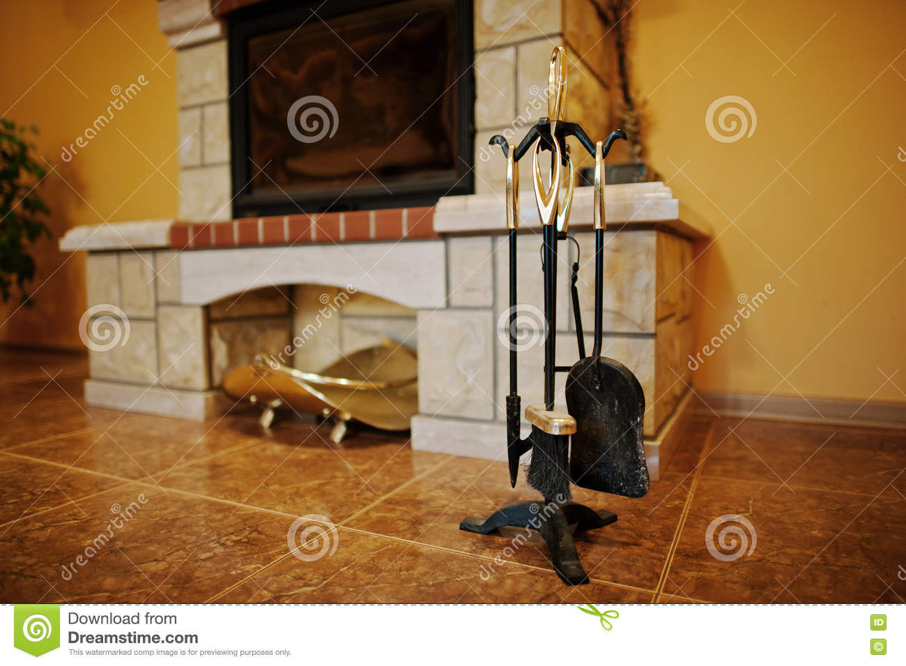 Fireplace accessories tools background fireplace