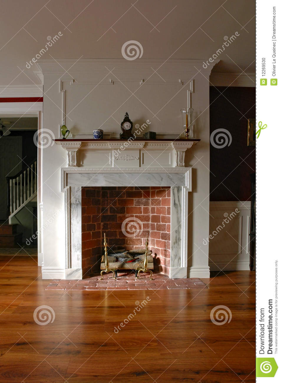 Fireplace In Antique Colonial Style Home Interior Stock Photo ...