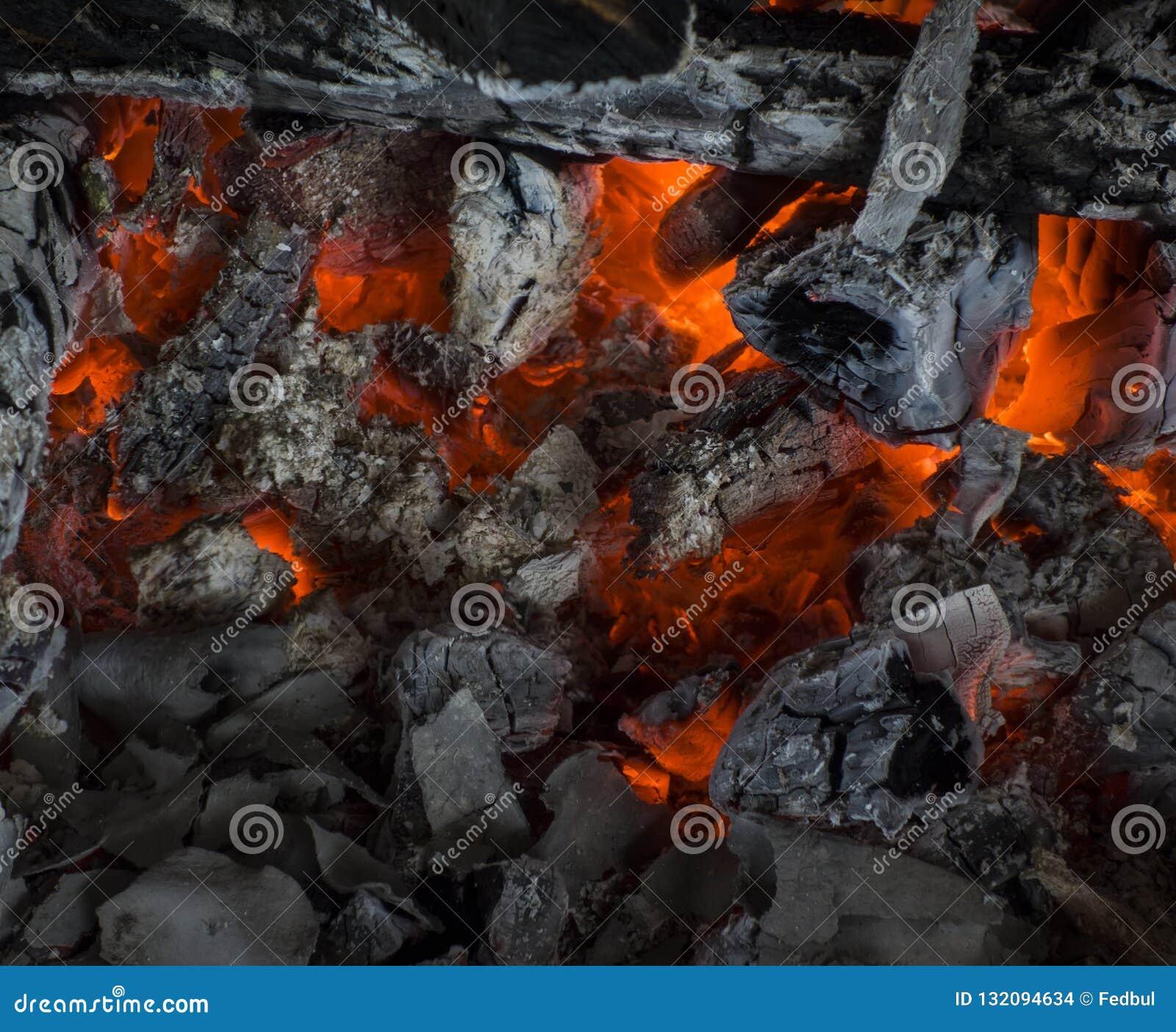 Fireplace Background Closeup Texture Of Burnt Coal Stock