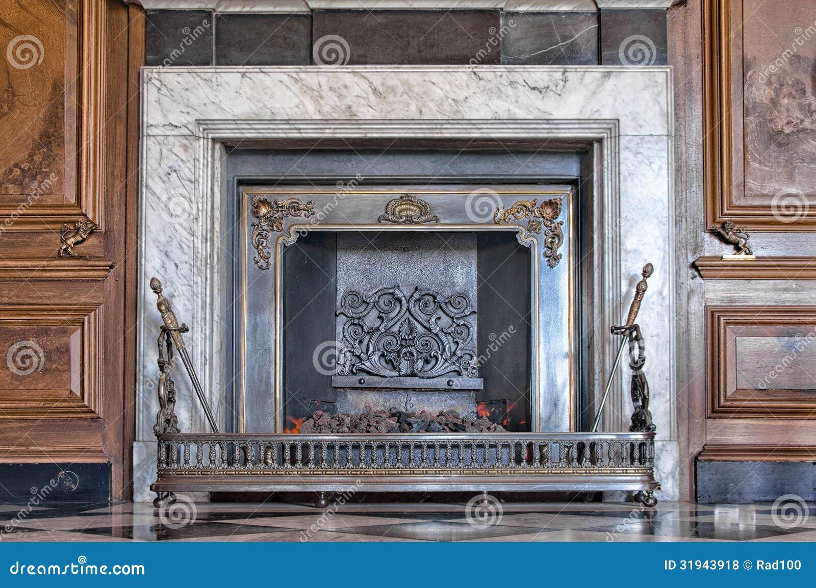 Fireplace With Burning Coal Stock Photo Image Of Fireplace