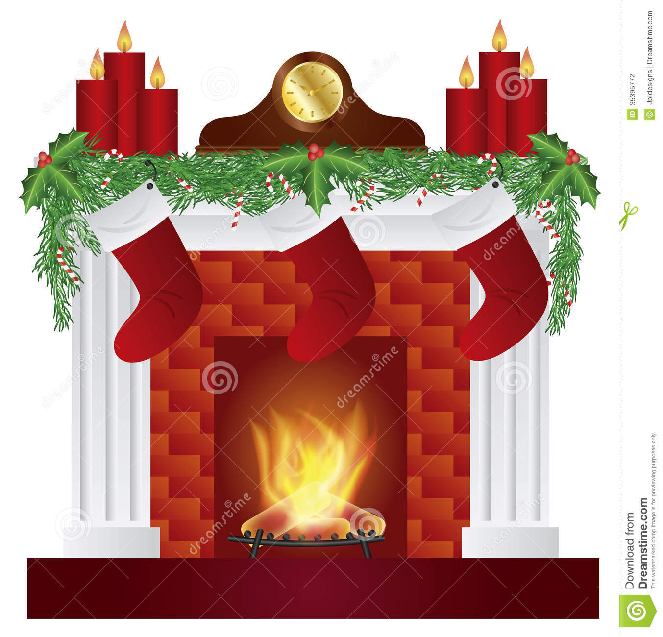 Christmas Fireplace Scene Clipart.Fireplace With Christmas Decoration Illustration Stock