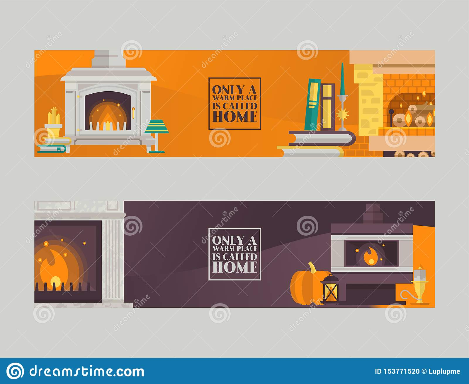Fireplace In Cozy Home Living Room Interior Vector Illustration Lamps Books Pumpkin Near Fire Place With Flame Burning Stock Vector Illustration Of Decor Burning 153771520