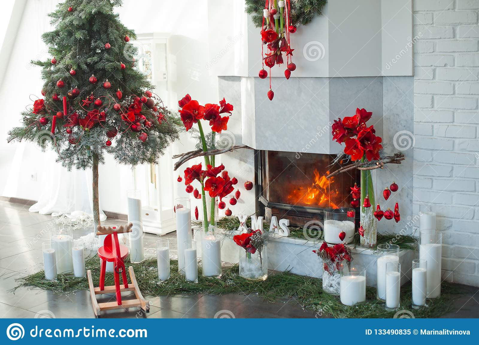The Idea Of A Christmas Fireplace Decor Stock Image Image Of