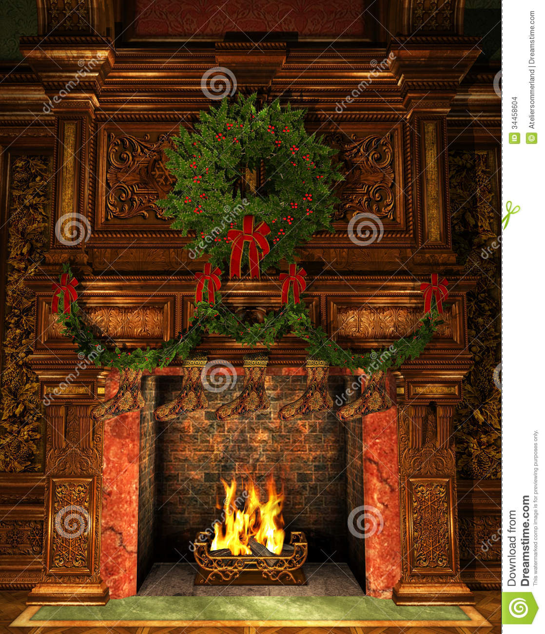 fireplace decorated for christmas stock images image 34458604