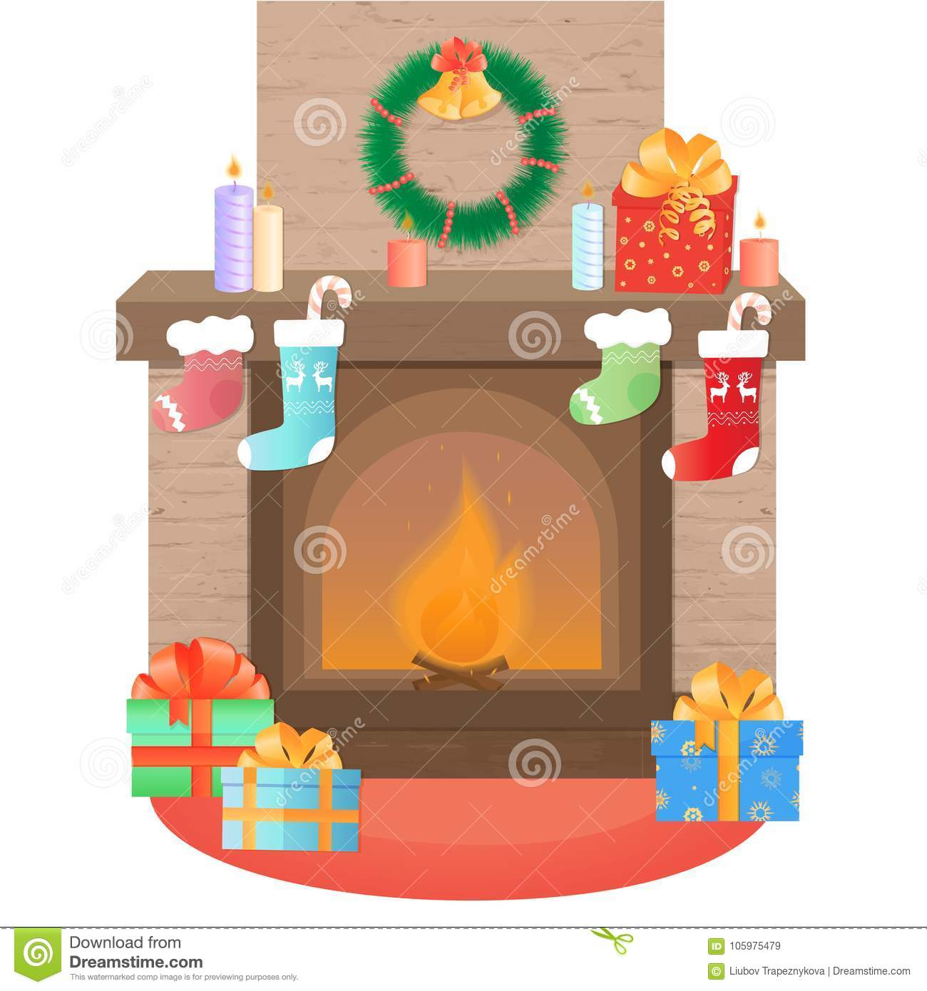 The fireplace is decorated for Christmas. New Year`s decoration.