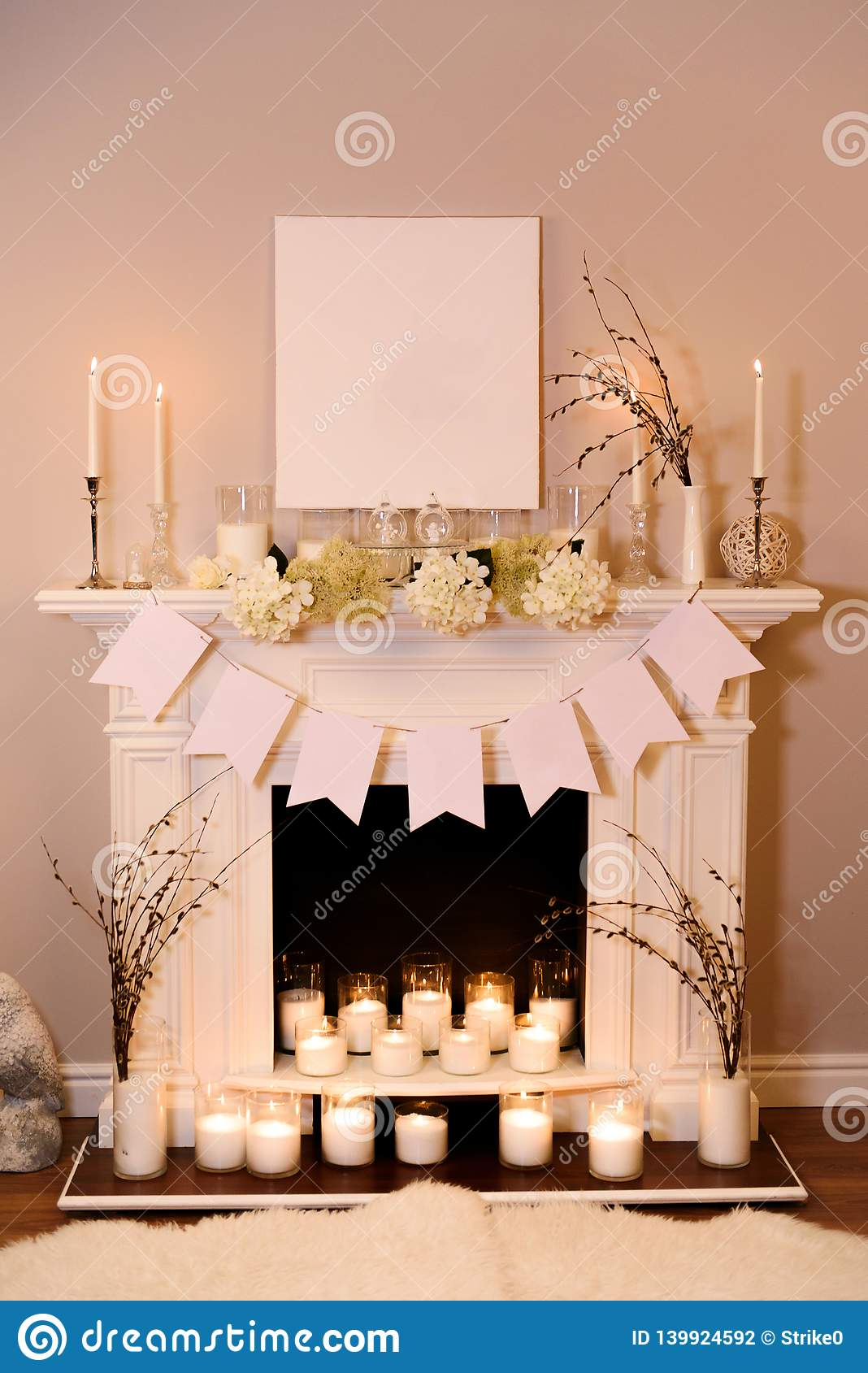 Fireplace Decorated For Easter Stock Photo Image Of Beautiful