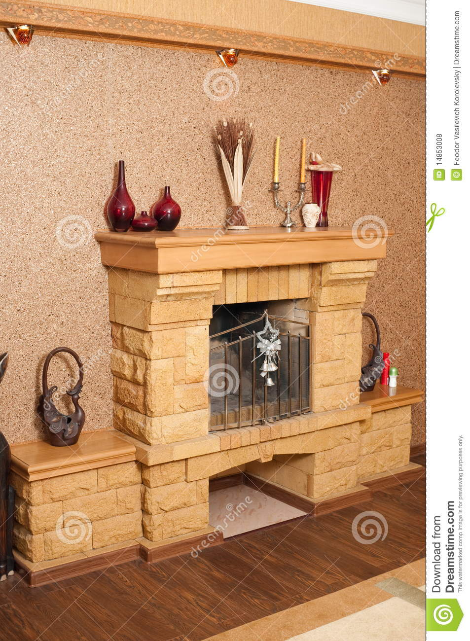 Fireplace in a drawing room.