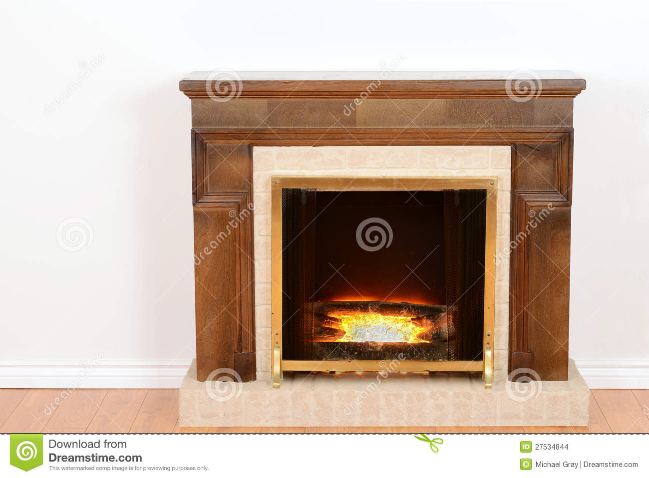 Fireplace With Fake Fire Stock Photo Image Of Fire Floor